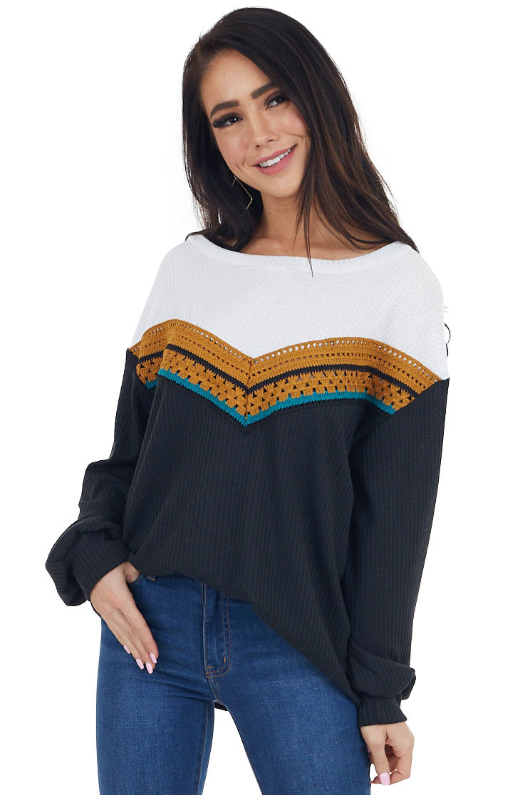 Black and White Waffle Knit Top with Crochet Details