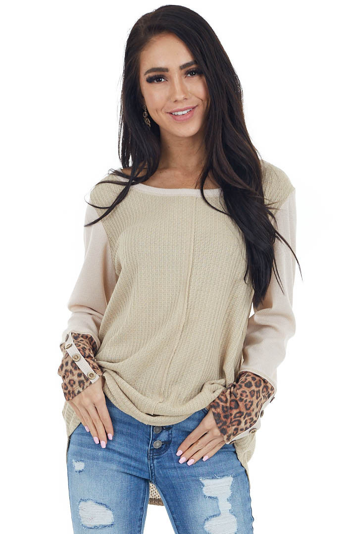 Oatmeal Waffle Knit Top with Long Leopard Contrast Sleeves