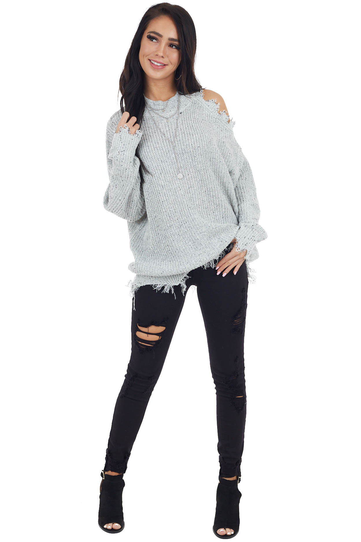 Heather Grey Two Toned Distressed Lightweight Sweater