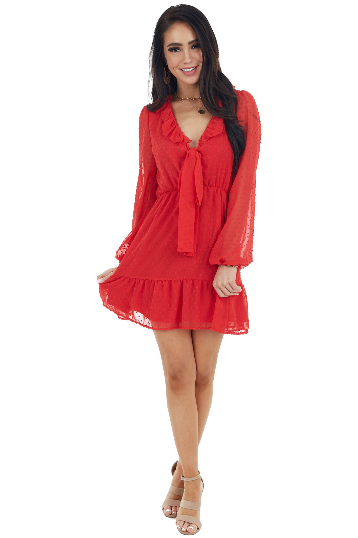 Ruby Red Swiss Dot Woven Dress with Front Tie Closure