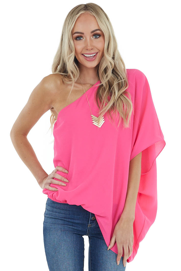 Hot Pink One Shoulder Flowy Sleeve Blouse with Elastic Waist