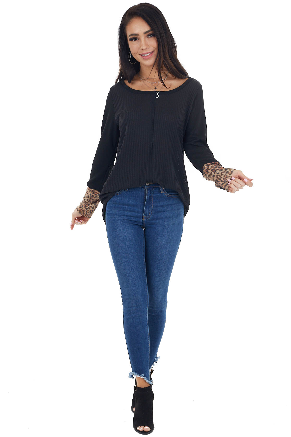 Black Waffle Knit Top with Long Leopard Contrast Sleeves