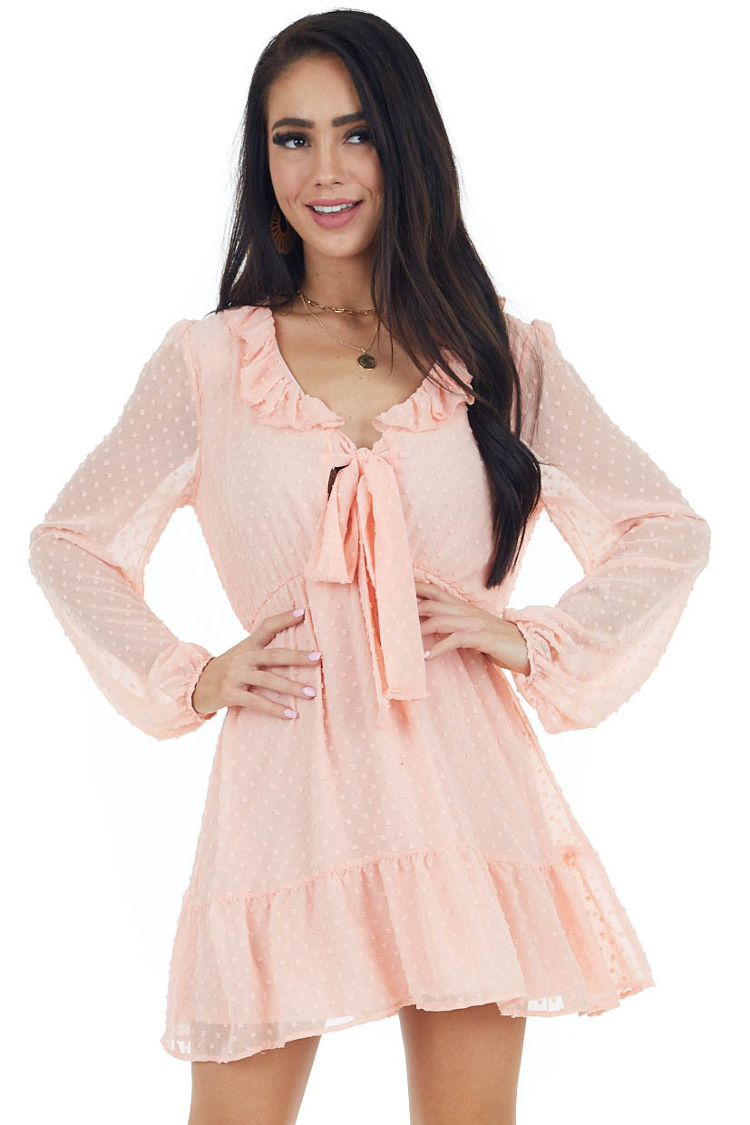 Blush Swiss Dot Woven Dress with Front Tie Closure
