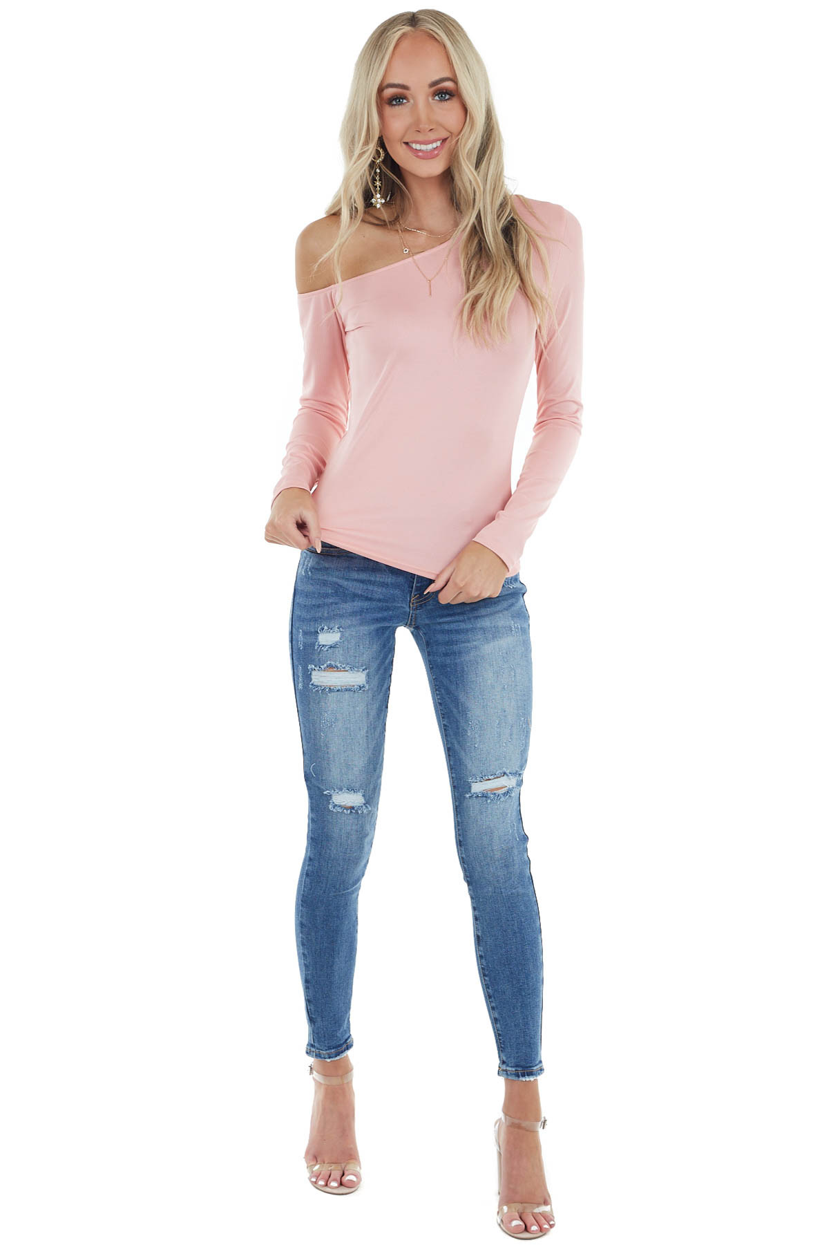 Dusty Blush Ribbed Knit Off the Shoulder Long Sleeve Top