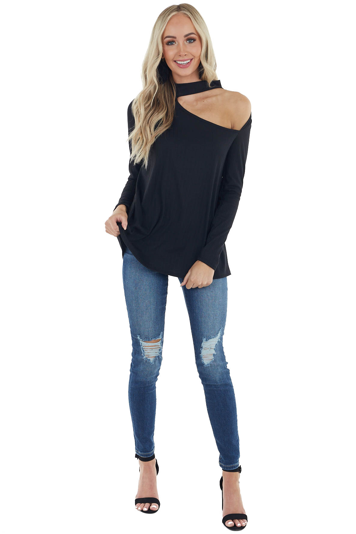 Black Long Sleeve Stretchy Knit Top with Cut Out Detail
