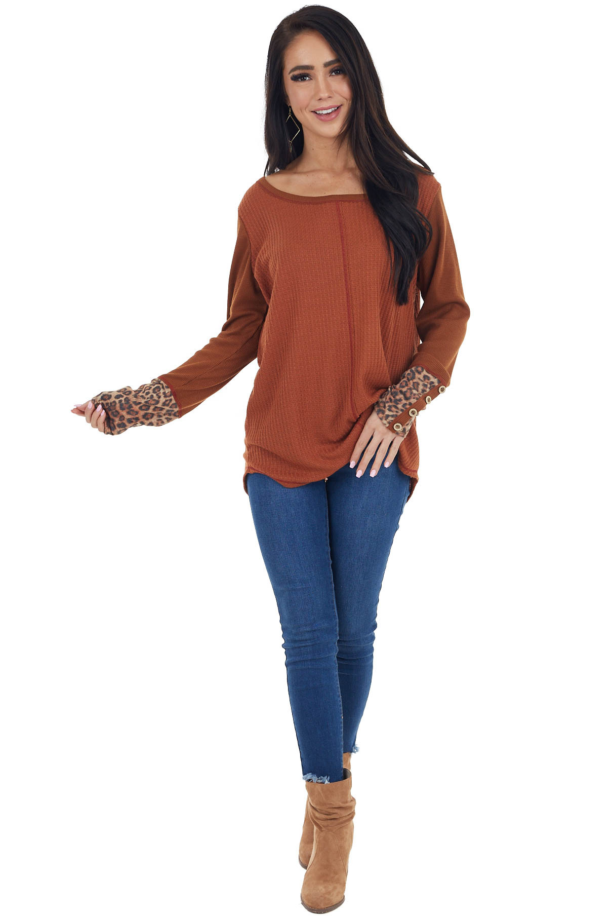 Rust Waffle Knit Top with Long Leopard Contrast Sleeves