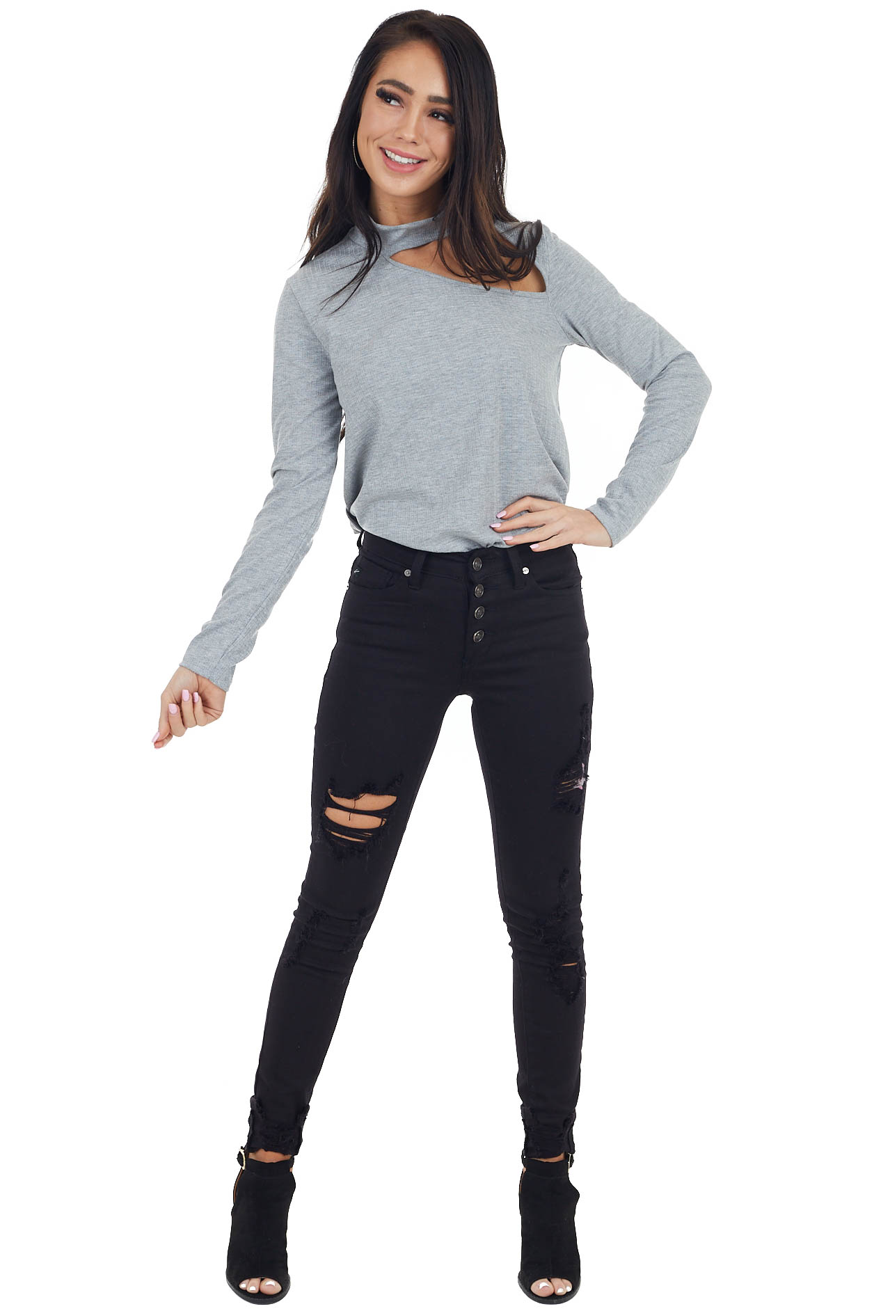 Heather Grey Long Sleeve Knit Top with Cut Out Detail