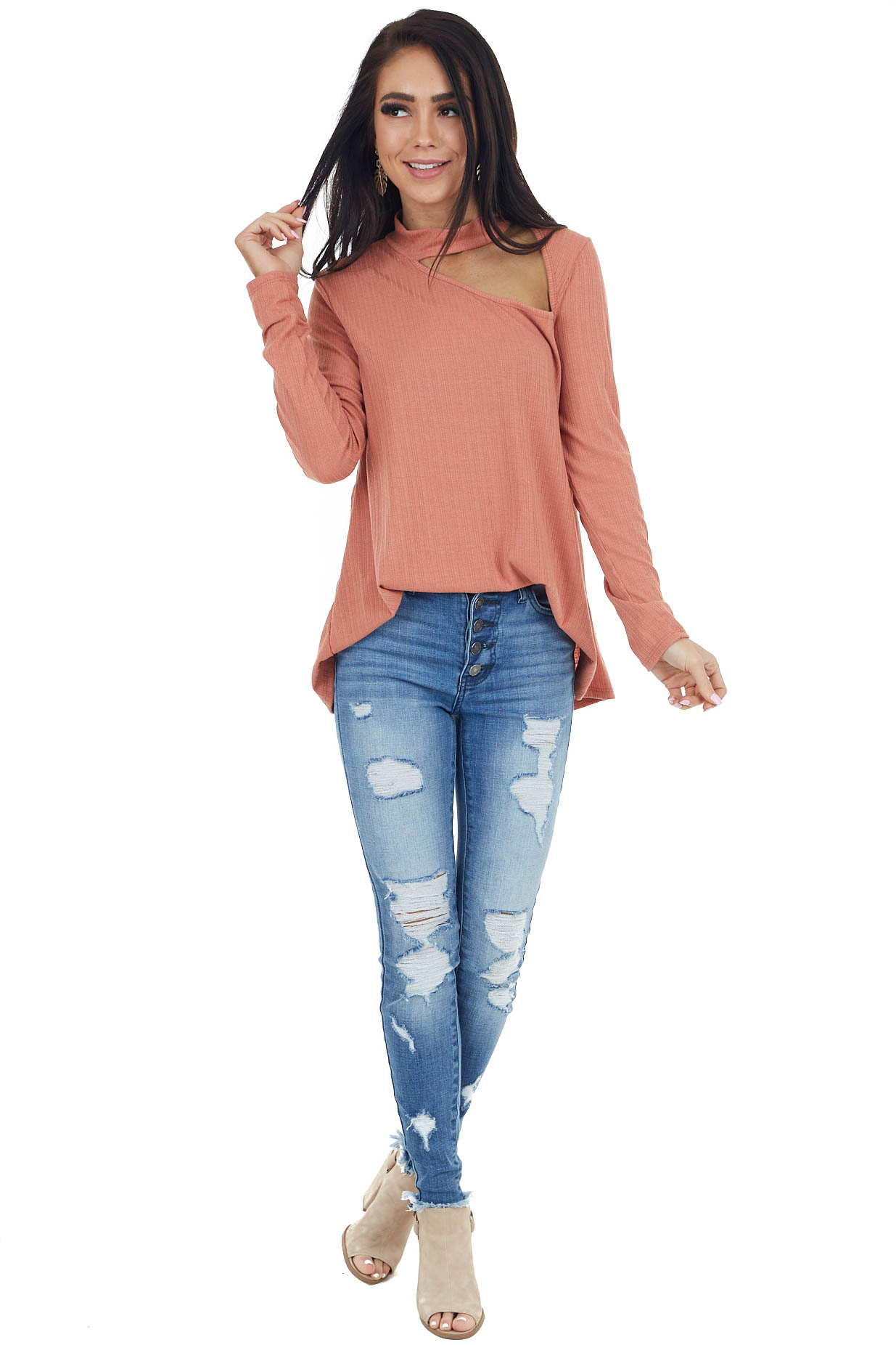 Terracotta Long Sleeve Stretchy Knit Top with Cut Out Detail