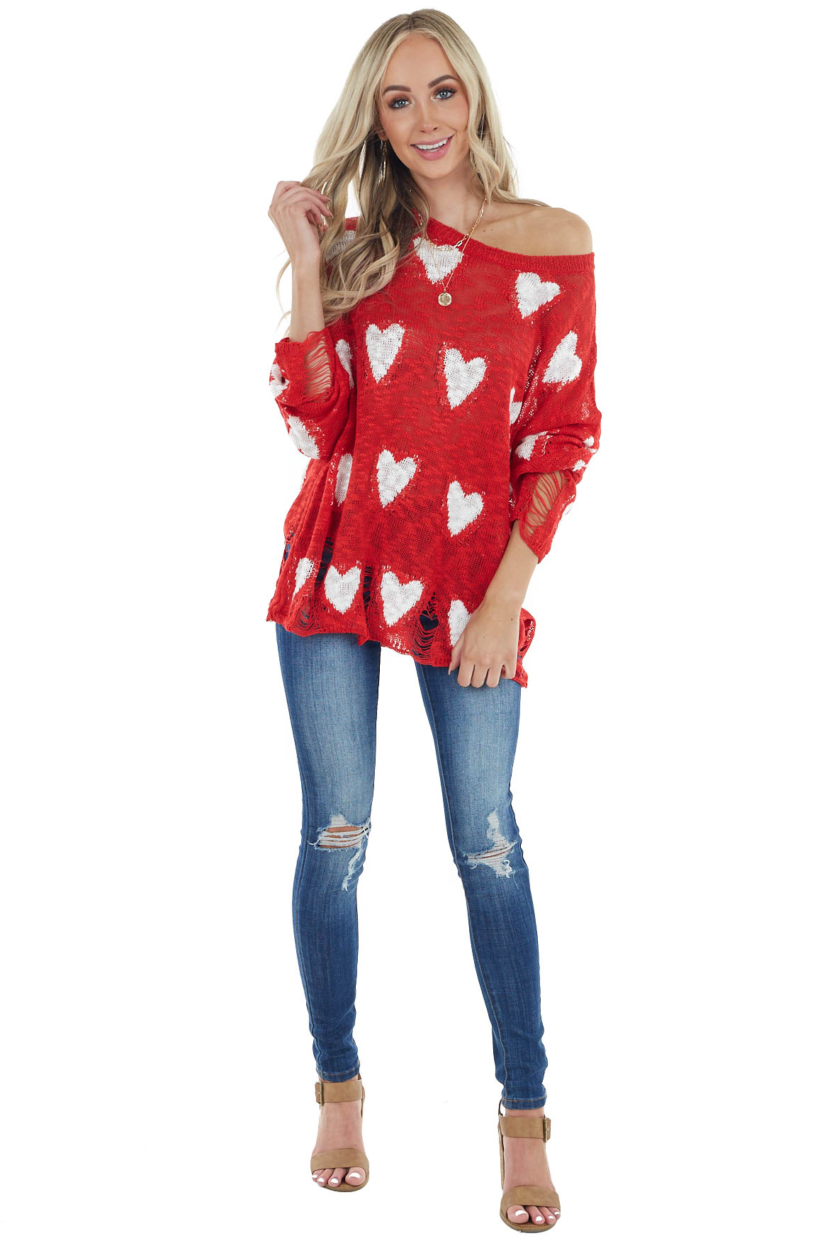 Red and Ivory Heart Distressed Long Sleeve Relaxed Sweater