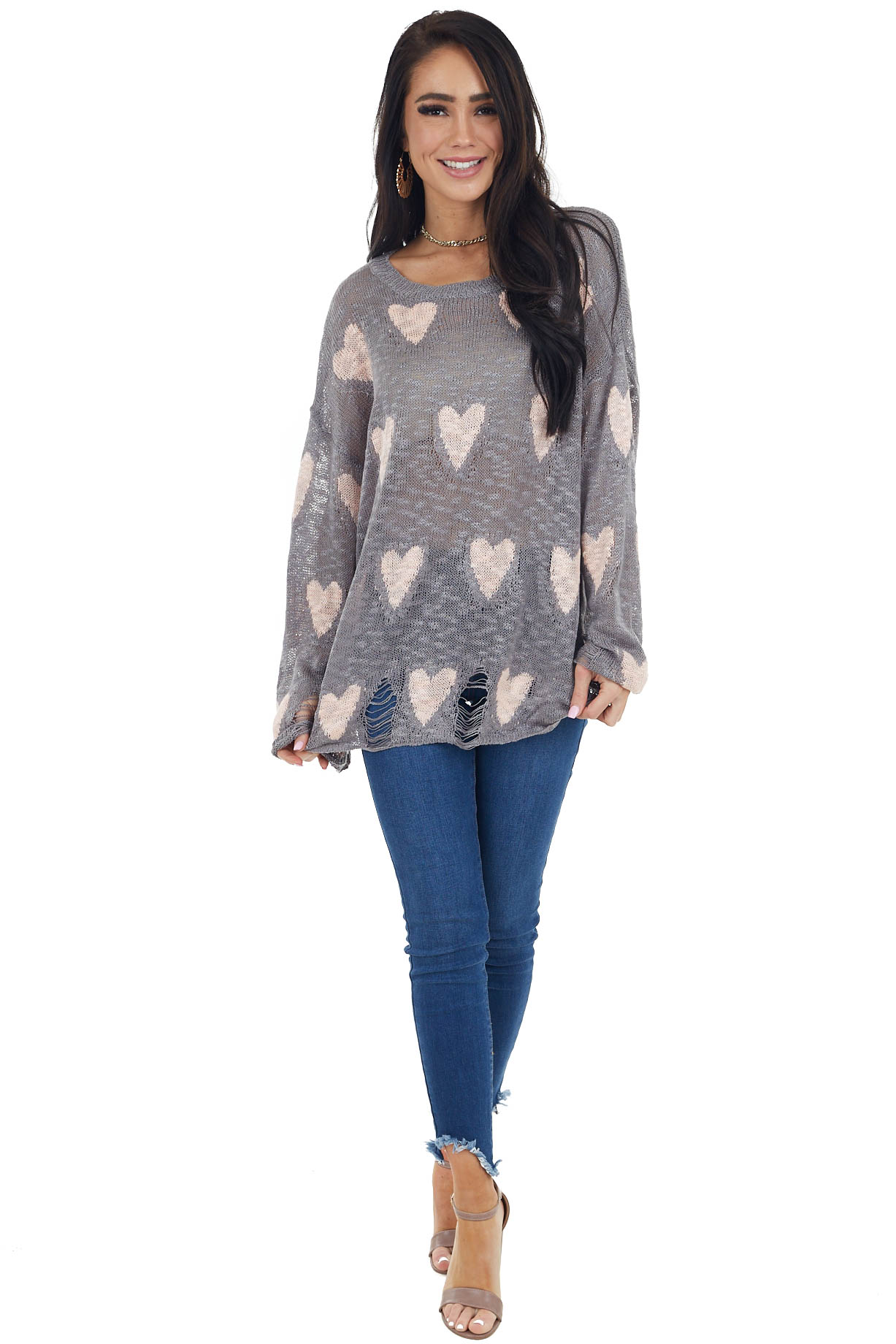 Grey and Blush Heart Distressed Long Sleeve Relaxed Fit Top