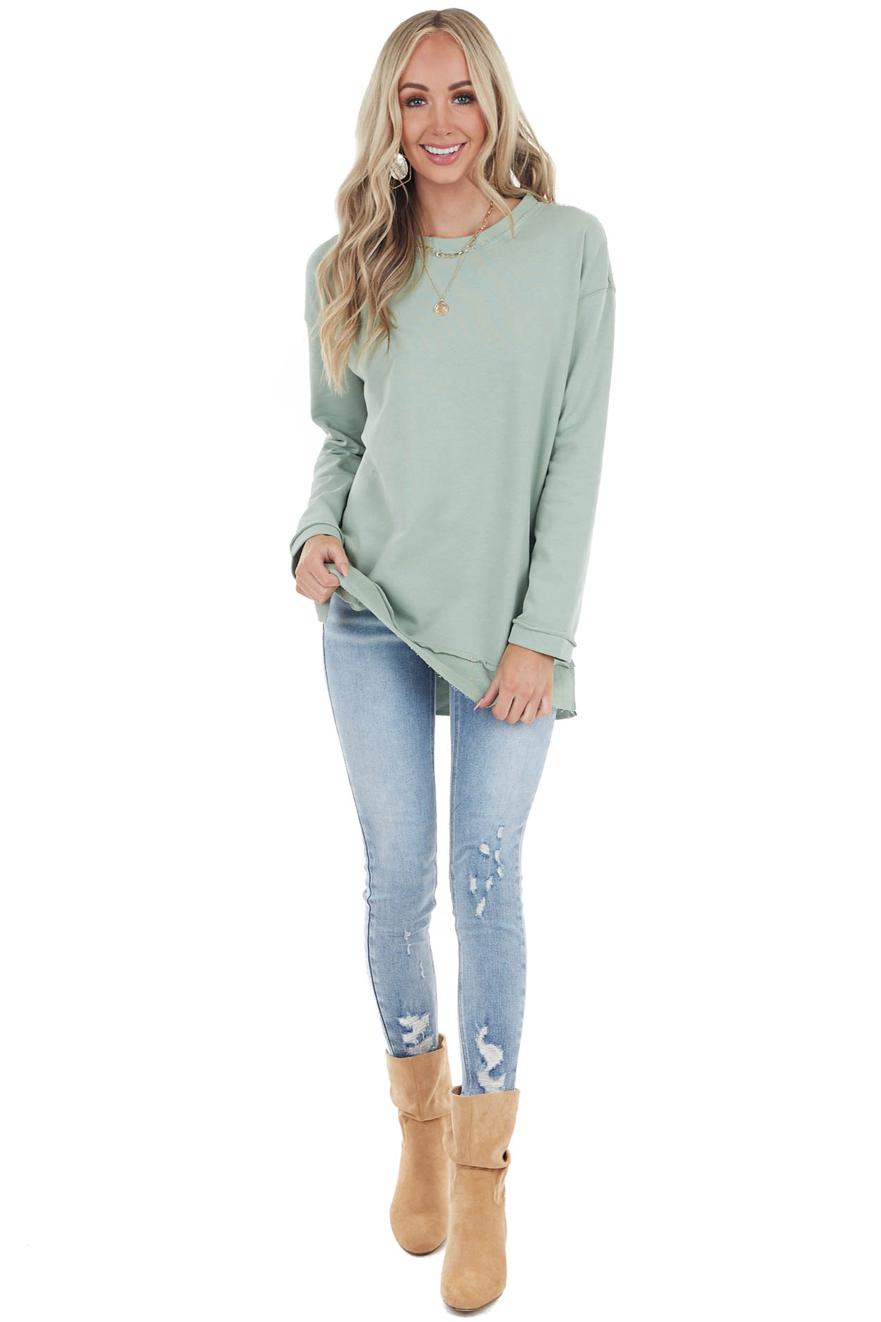 Sage Oversized Sweatshirt with Raw and Distressed Details