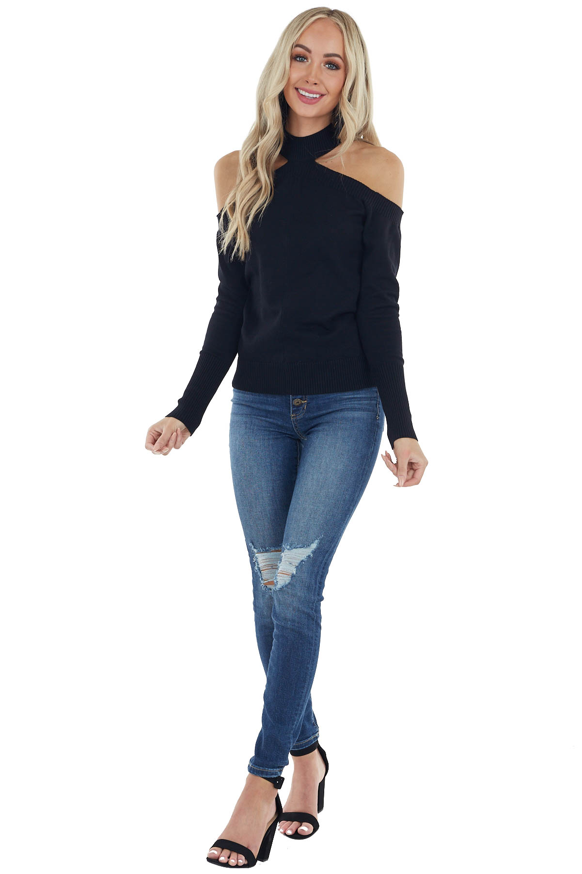 Black Mock Neck Soft Stretchy Knit Top with Cold Shoulders