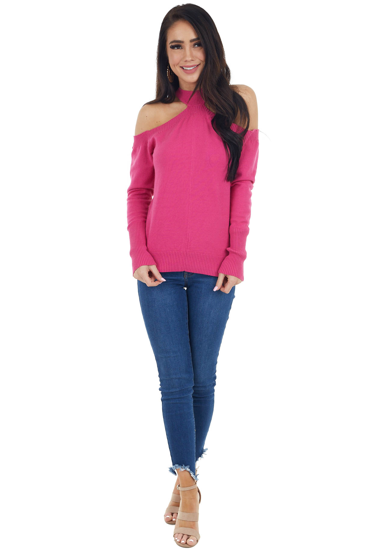 Fuchsia Mock Neck Soft Stretchy Knit Top with Cold Shoulders