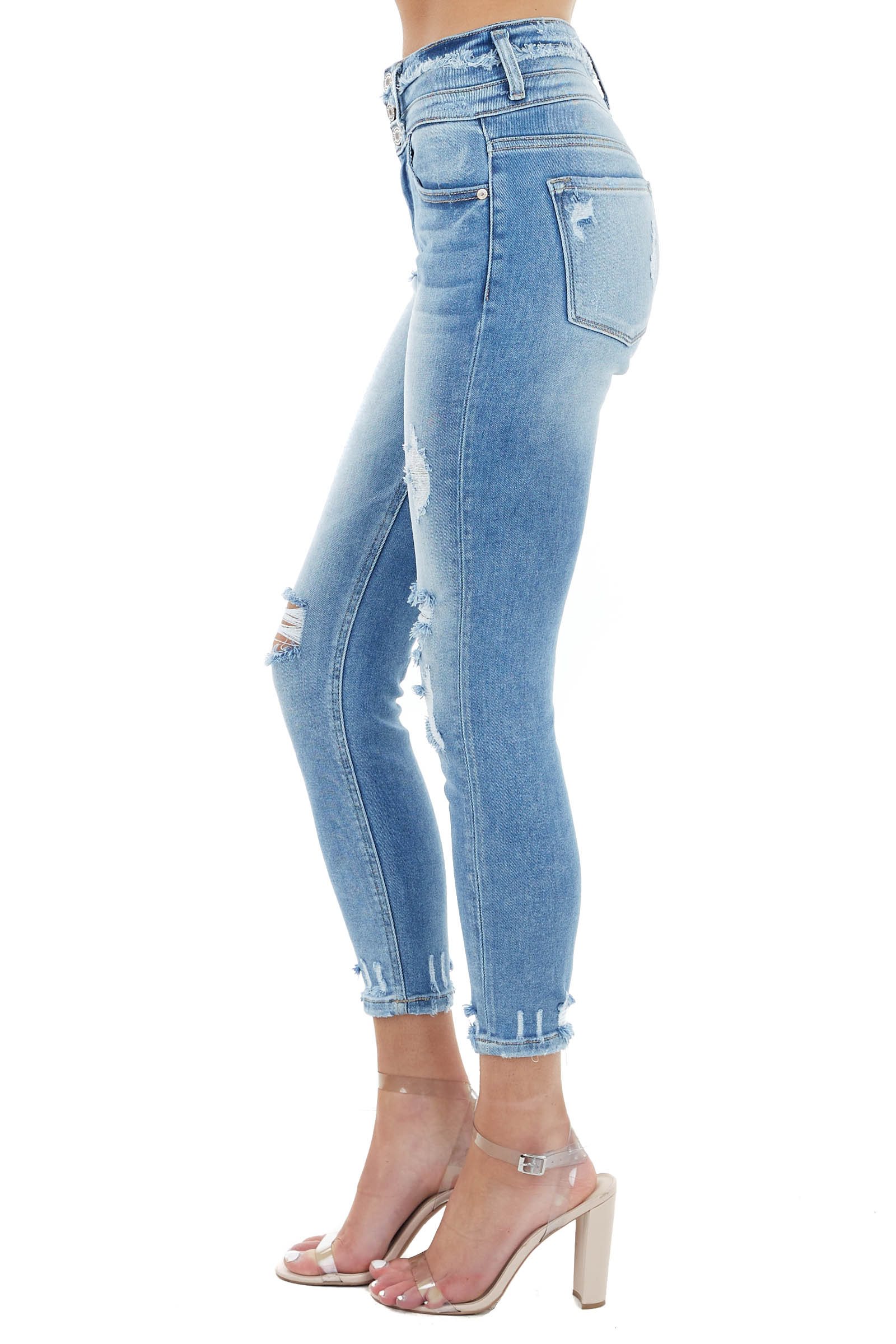 Light Wash Denim High Rise Skinny Jeans with Distressing