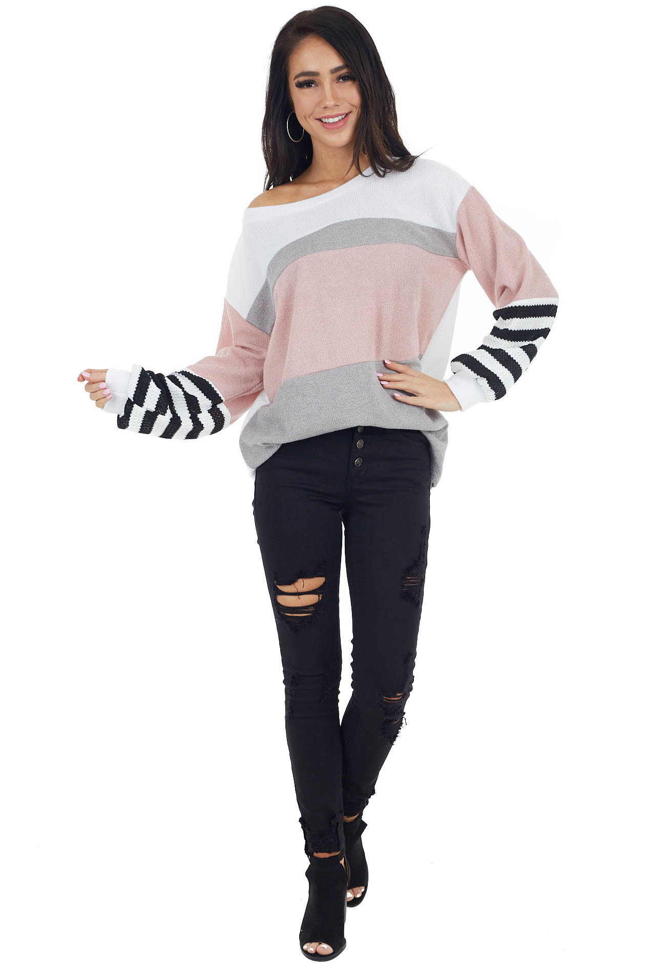 Dusty Blush and White Colorblock Top with Striped Contrast