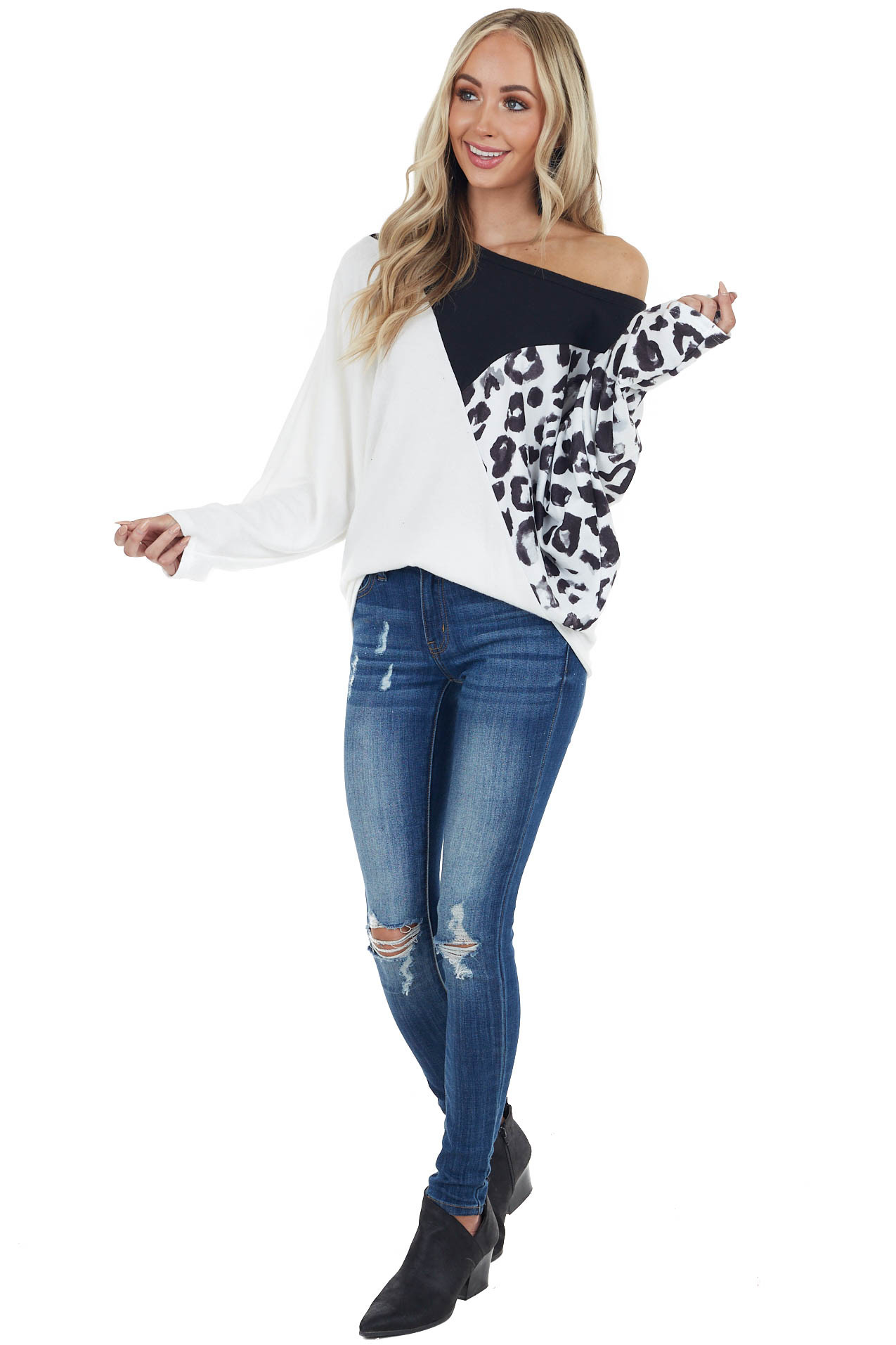 White and Black Colorblock Knit Top with Leopard Contrast