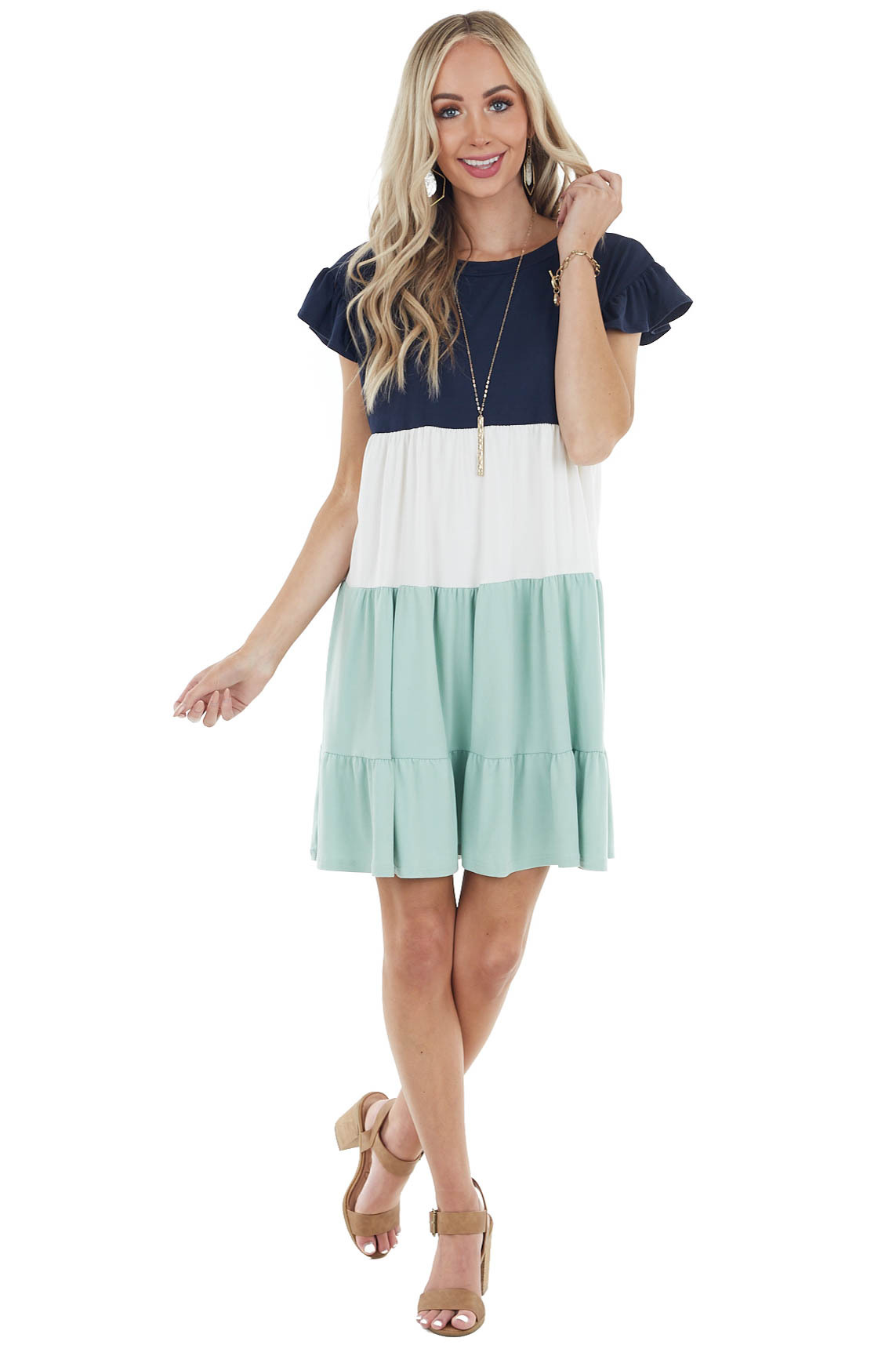 Navy and Mint Colorblock Tiered Mini Dress with Round Neck