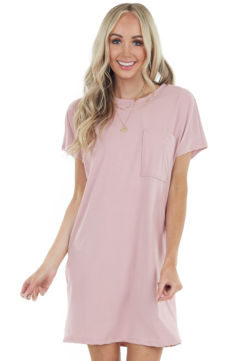 Dusty Blush Short Sleeve Tee Shirt Dress with Front Pocket
