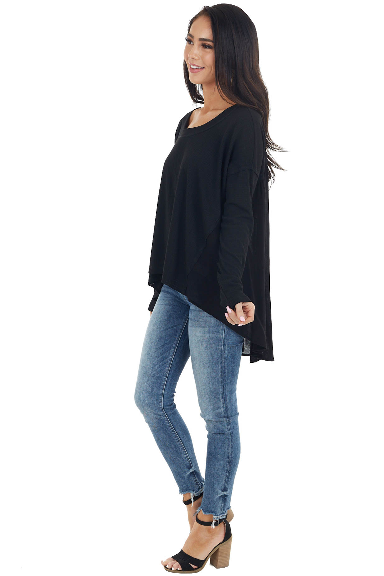 Black Long Sleeve High Low Knit Top with Woven Contrast