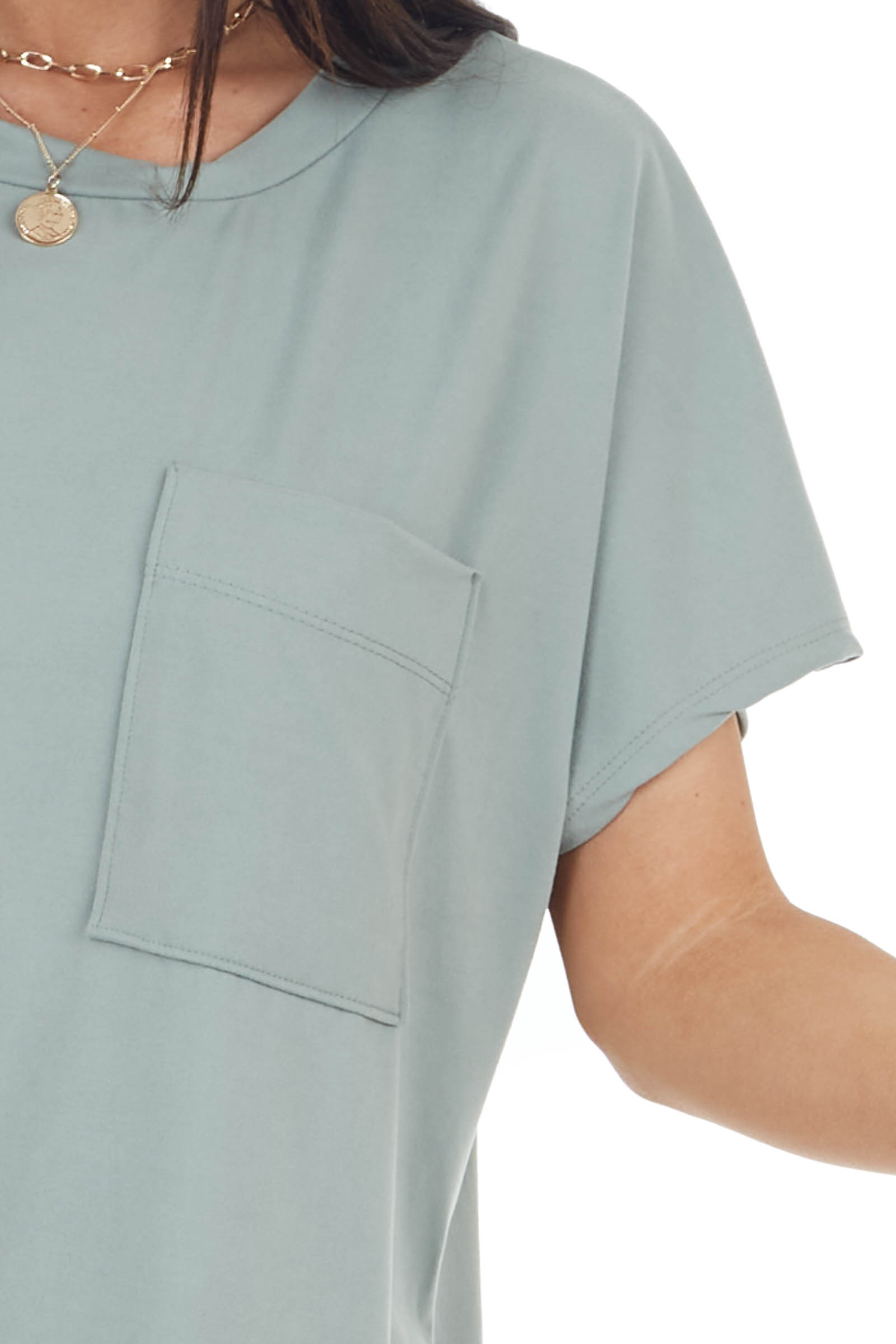 Sage Green Short Sleeve Tee Shirt Dress with Front Pocket