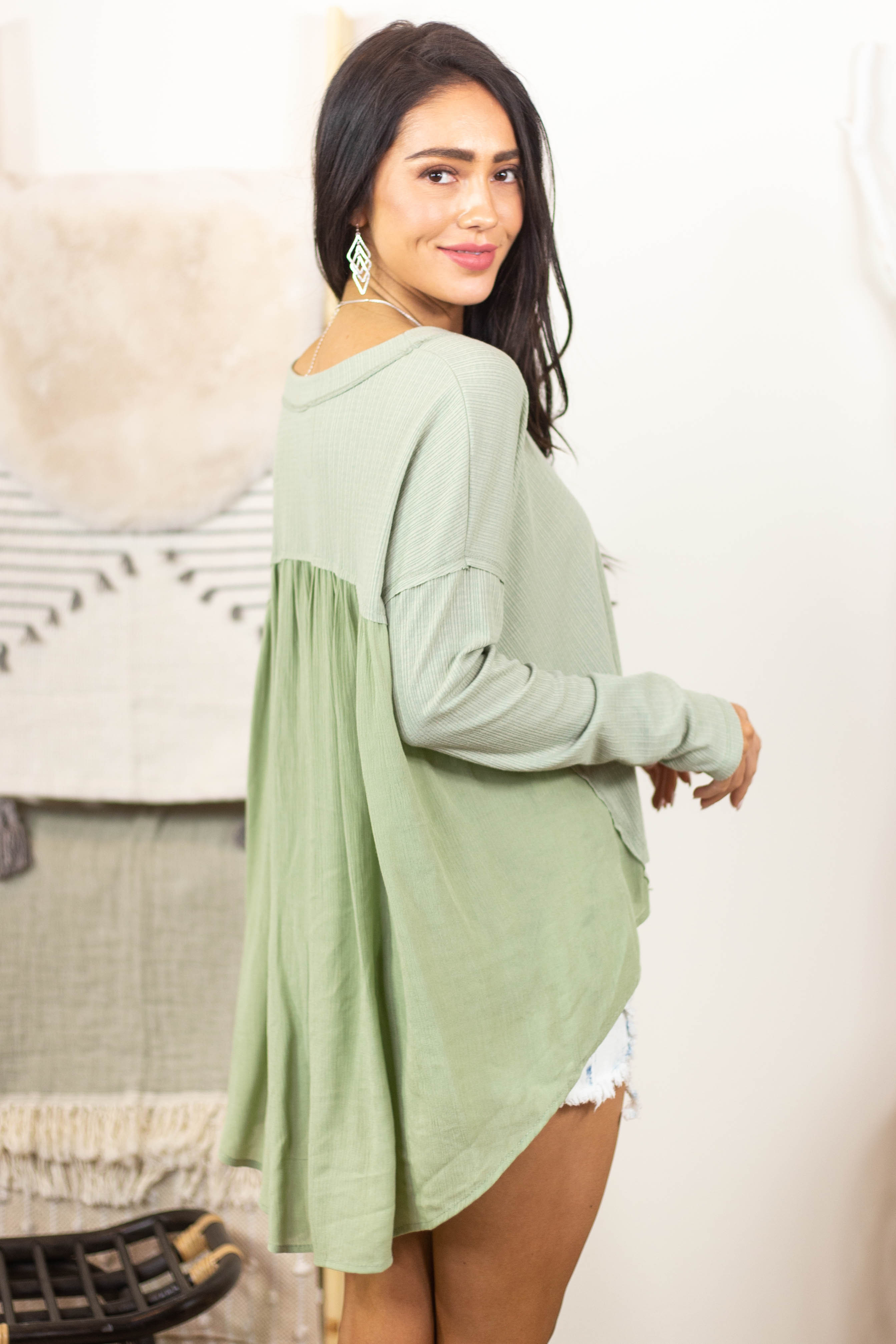 Pistachio Long Sleeve High Low Knit Top with Woven Contrast