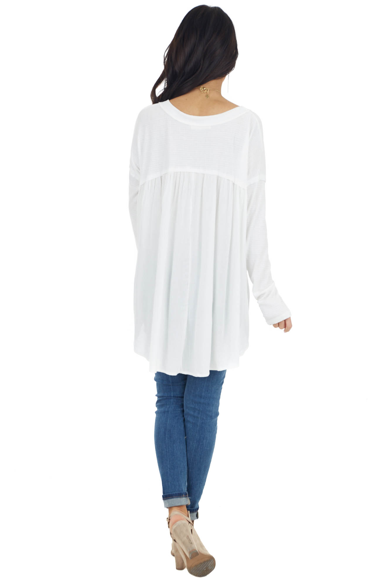 Off White Long Sleeve High Low Knit Top with Woven Contrast