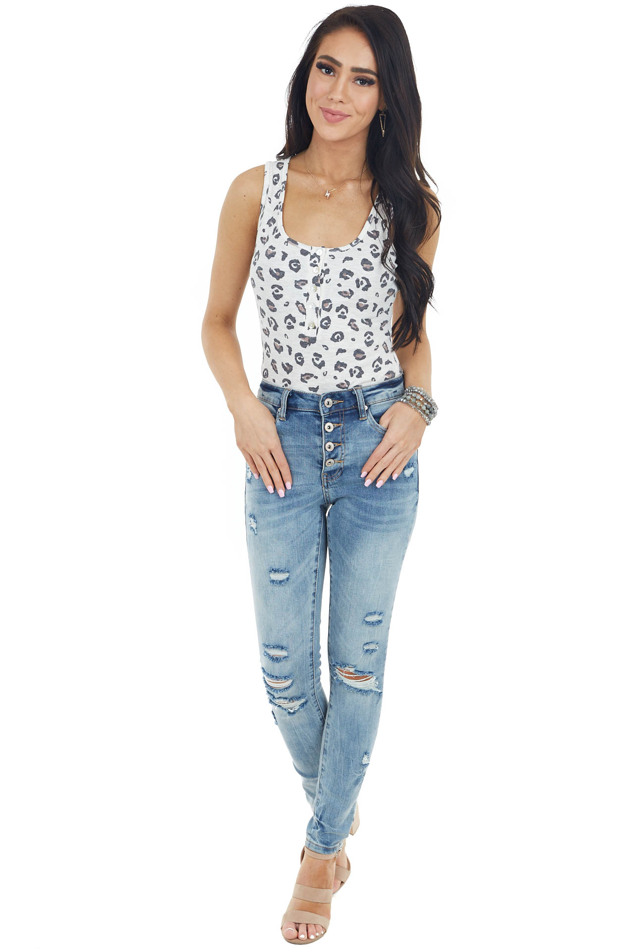 Cream Ribbed Henley Sleeveless Bodysuit with Leopard Print