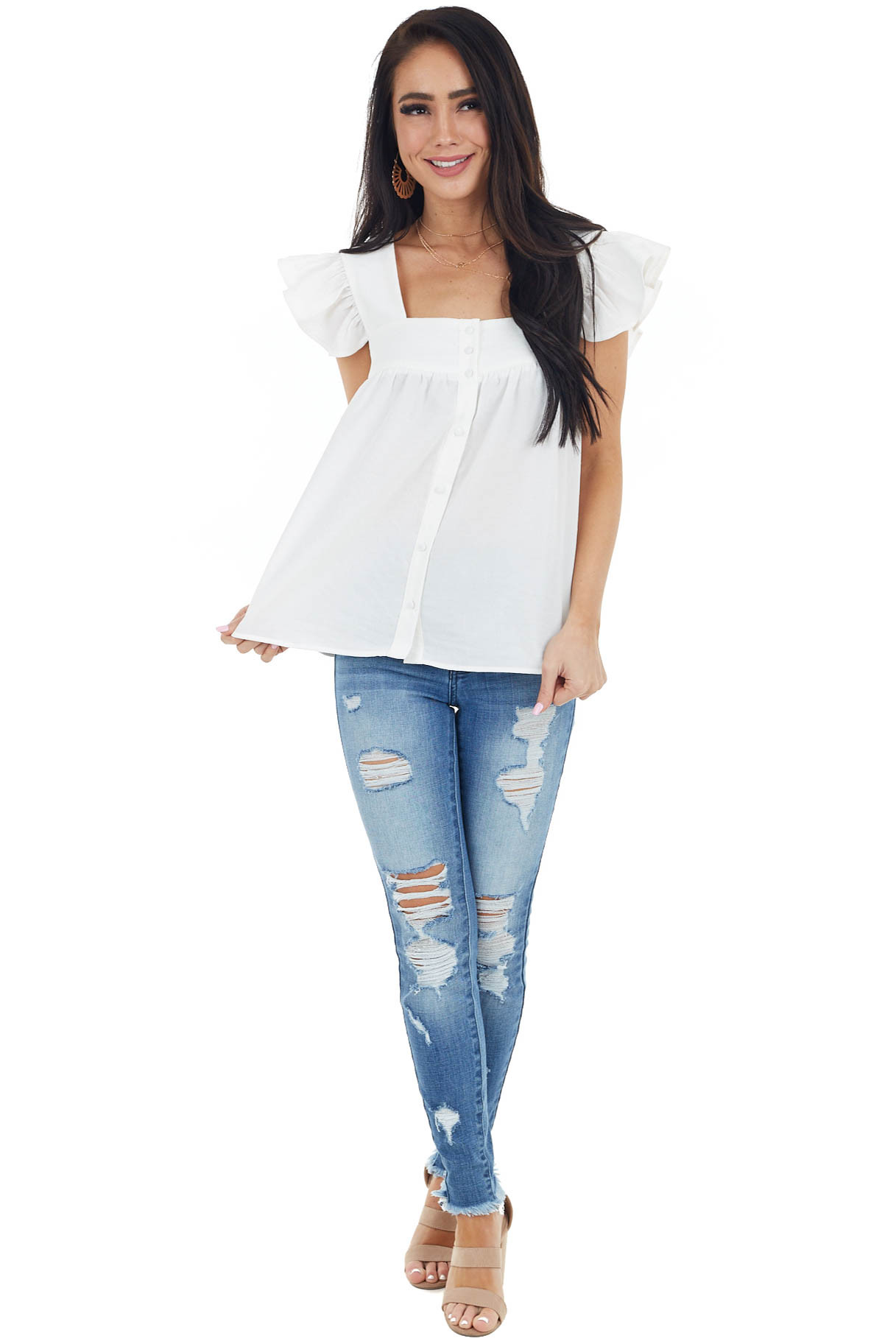 Ivory Babydoll Short Sleeve Woven Top with Button Detail