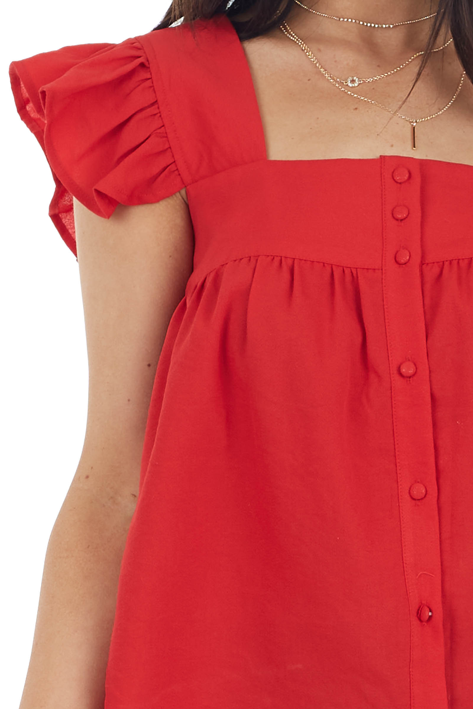 Lipstick Babydoll Short Sleeve Woven Top with Button Detail
