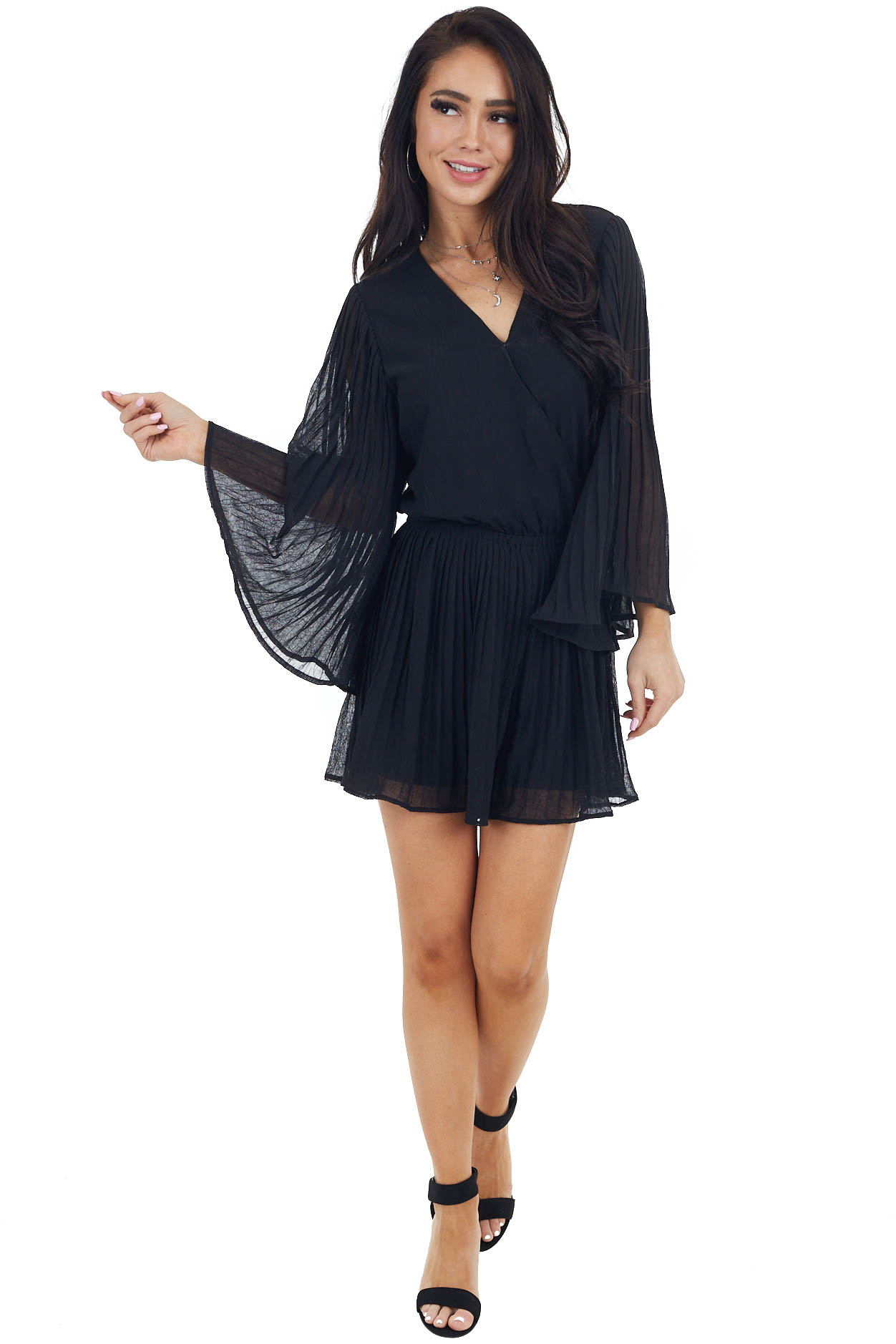 Black Flowy Sleeve Surplice Romper with Ruffle Detail