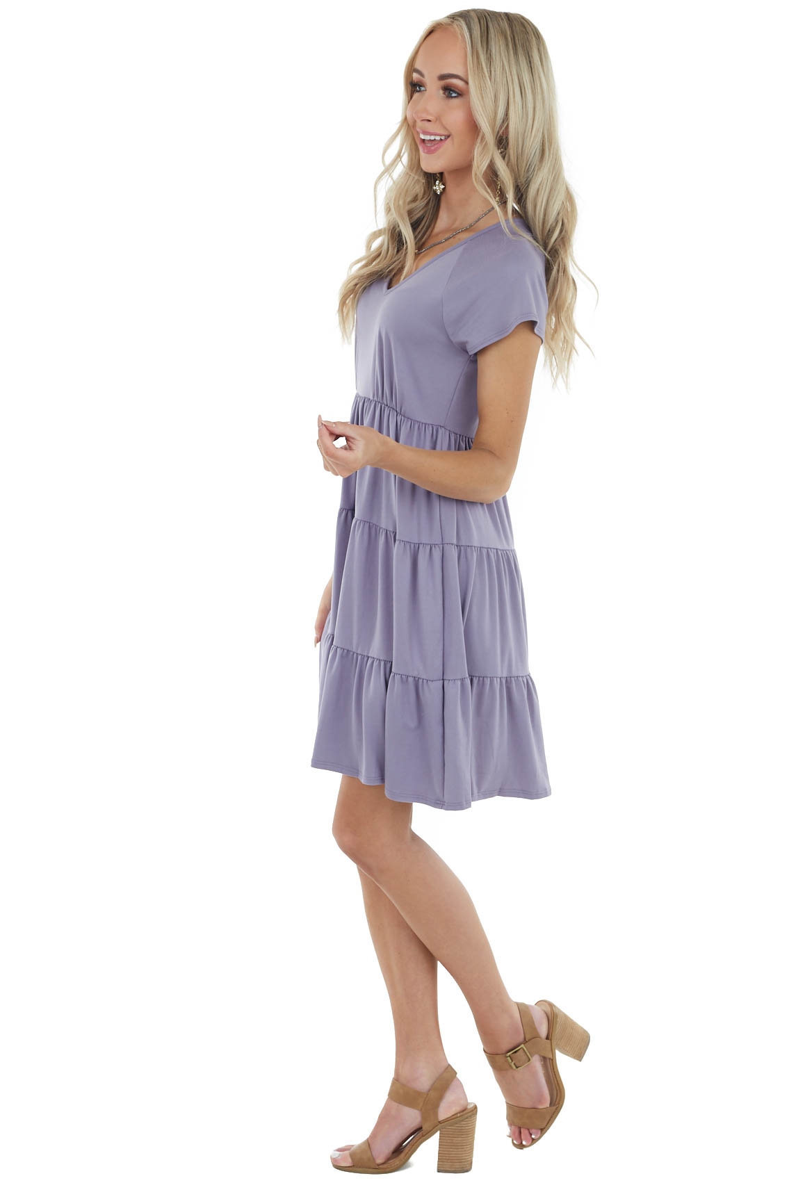 Lavender Tiered V Neck Short Knit Dress with Short Sleeves
