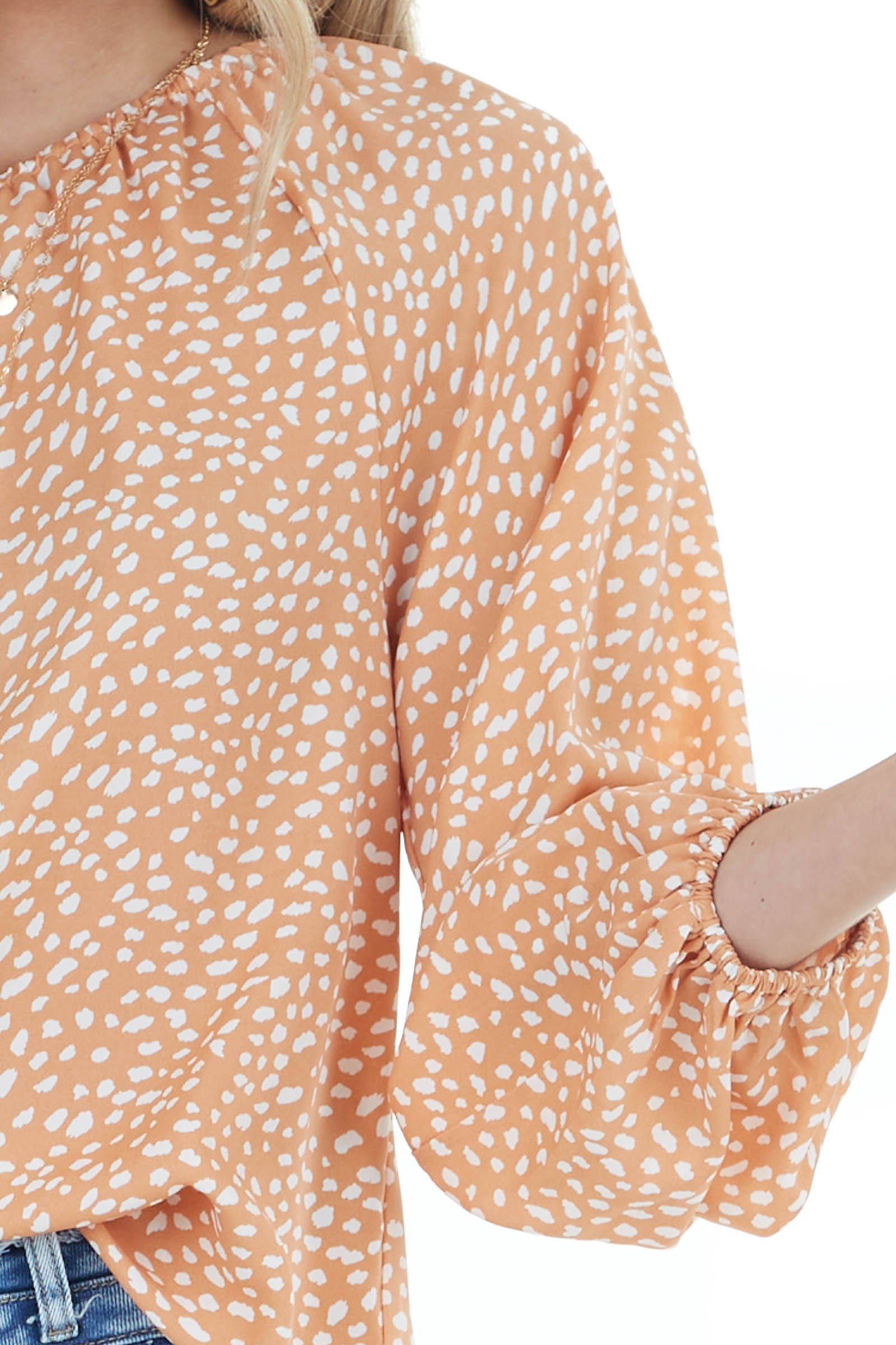 Salmon Printed Woven One Shoulder Blouse