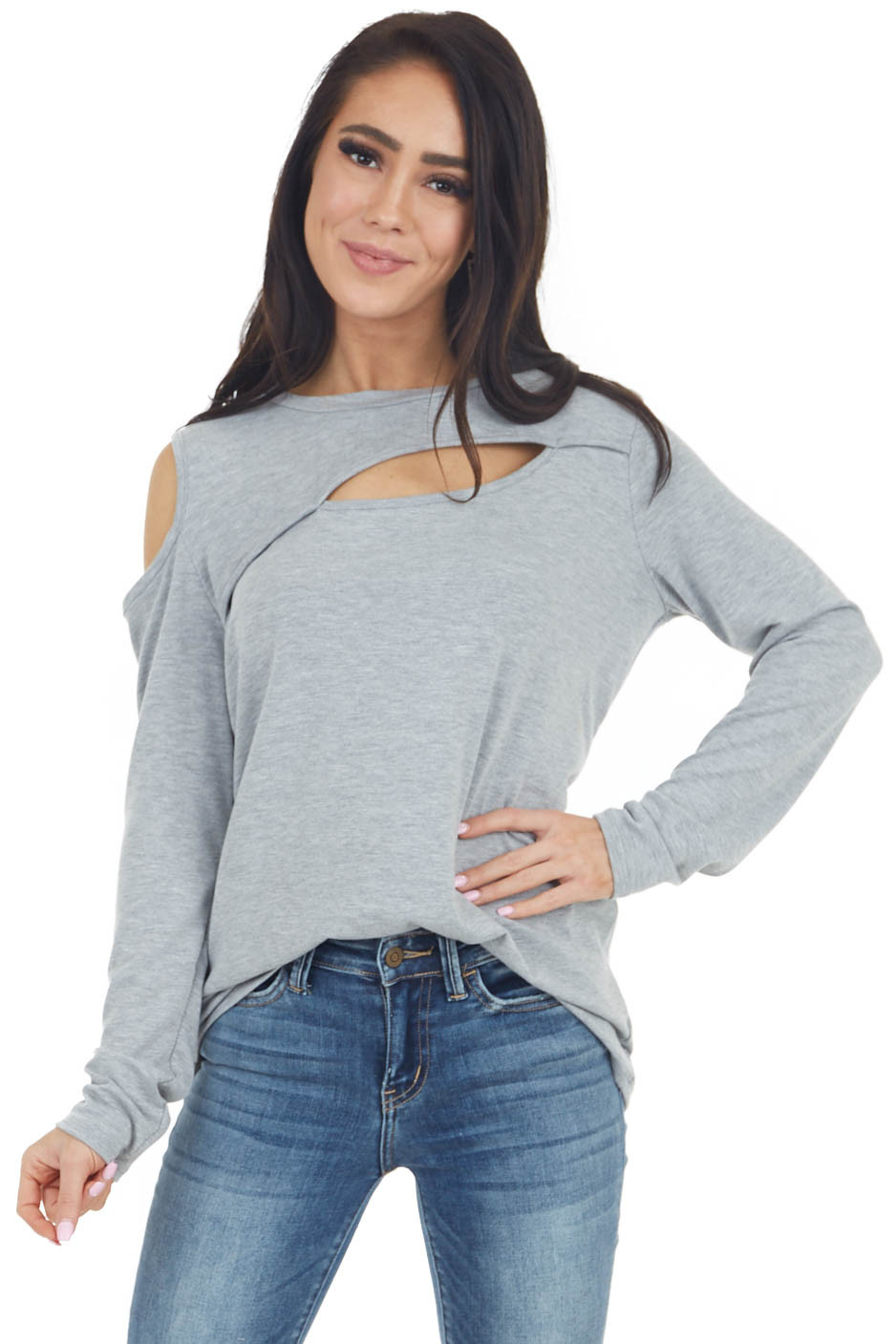 Heather Grey Long Sleeve Open Front Top with Cold Shoulder