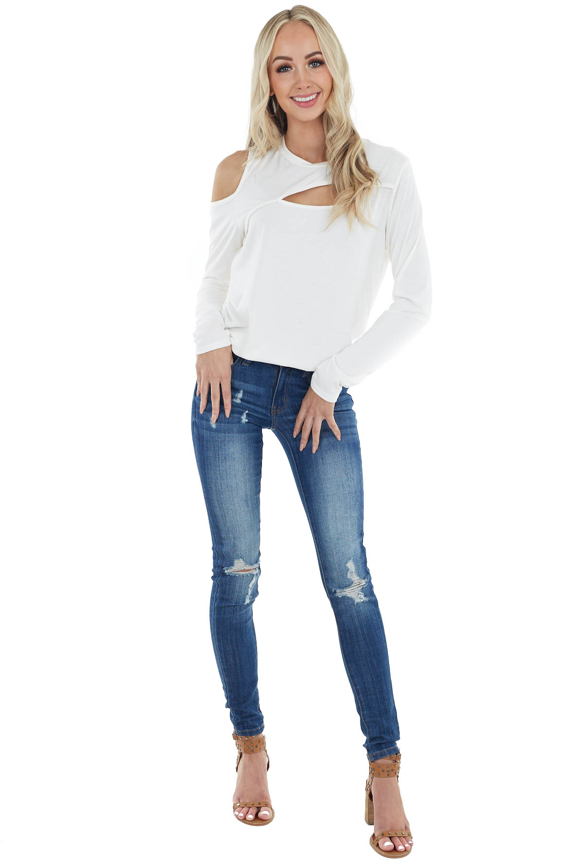 Off White Long Sleeve Open Front Top with Cold Shoulder