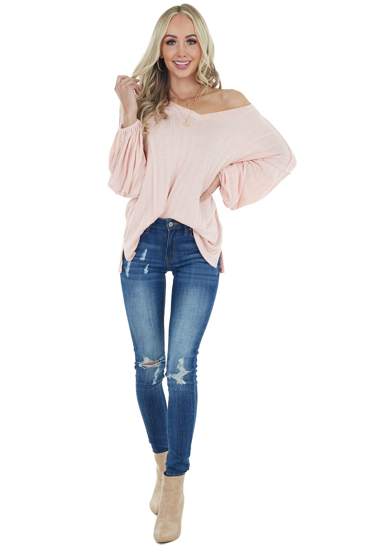 Blush Textured Long Bubble Sleeve Top with Raw Edge Details