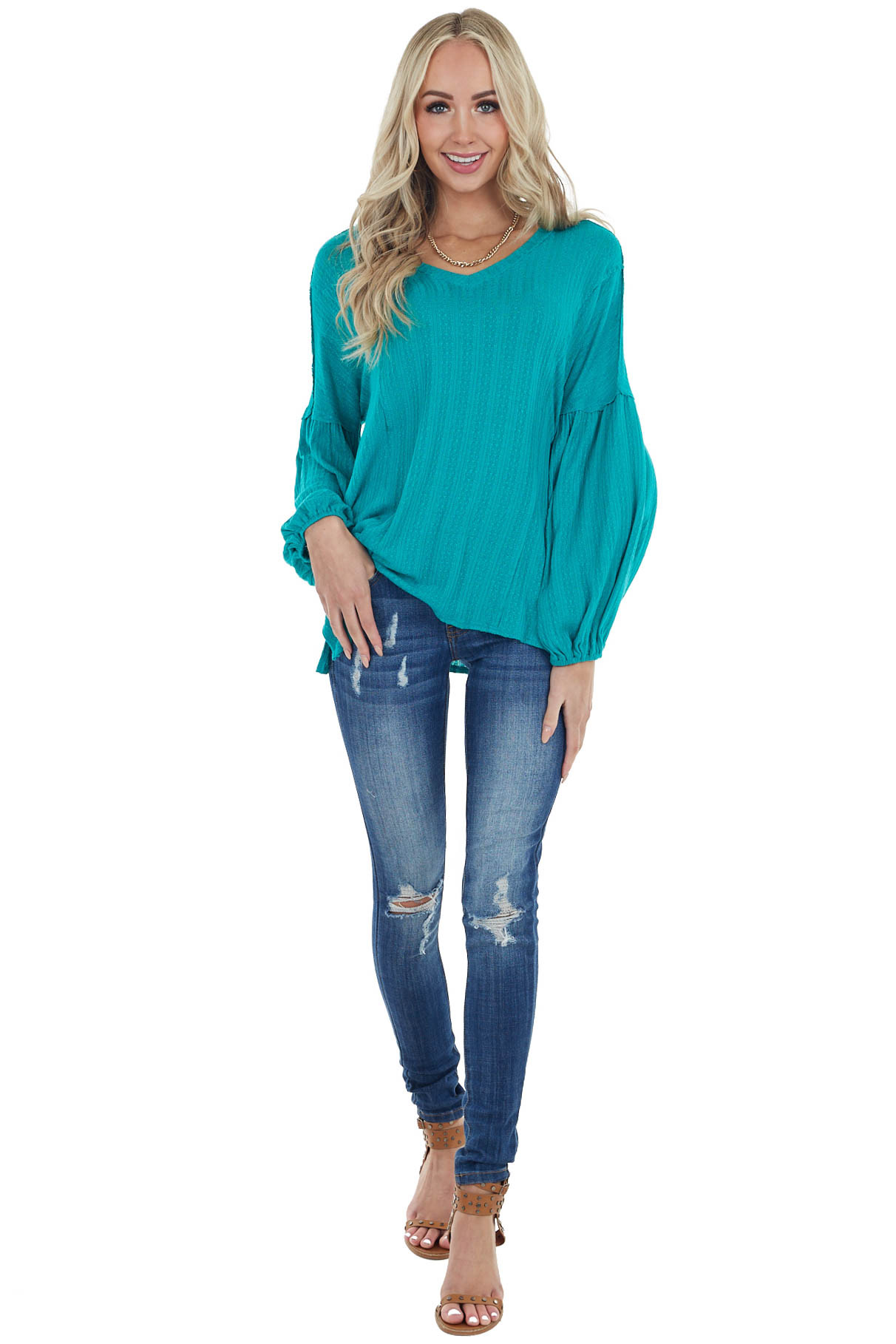 Teal Textured Long Bubble Sleeve Top with Raw Edge Details