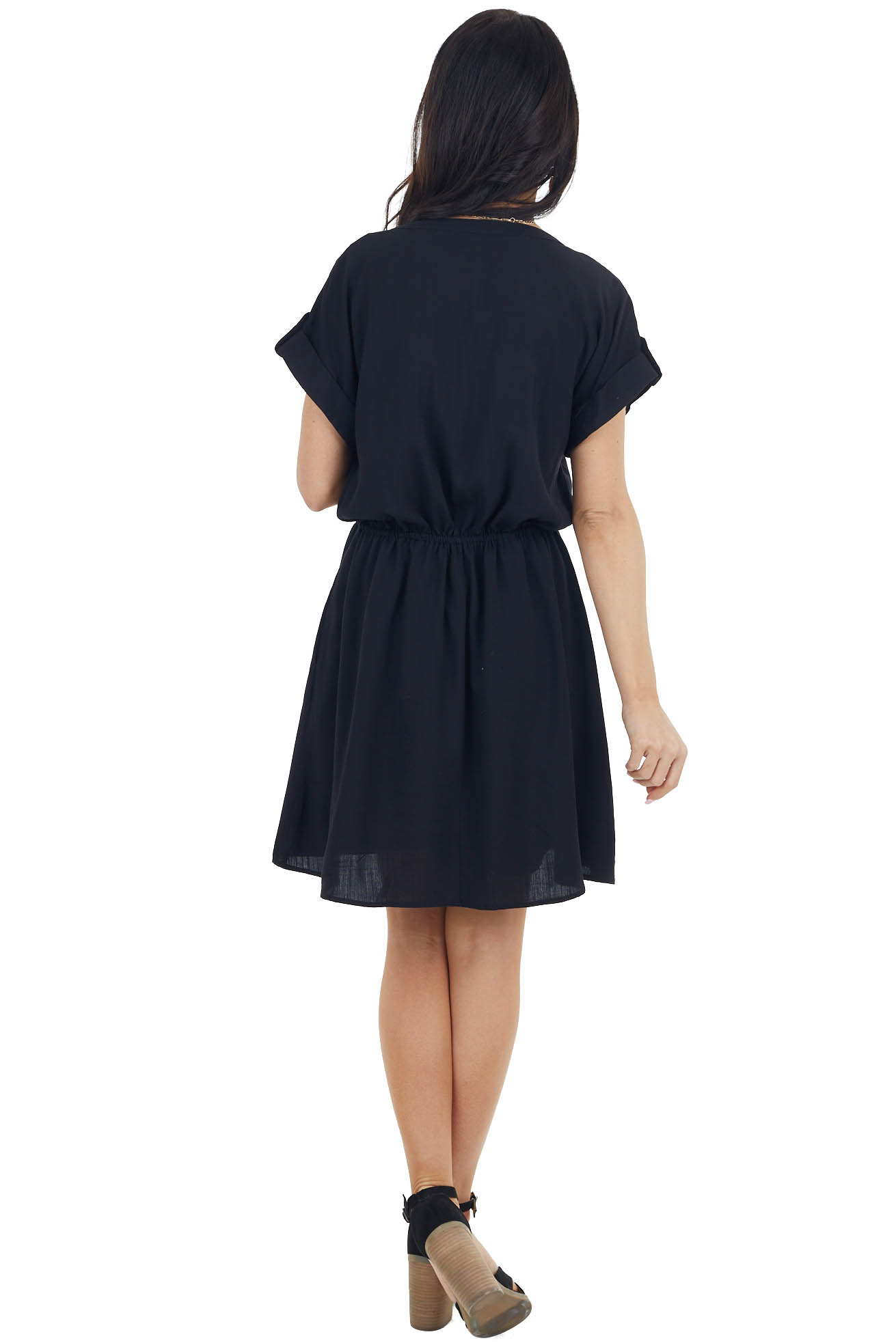 Black Short Sleeve Button Down Dress with Chest Pockets