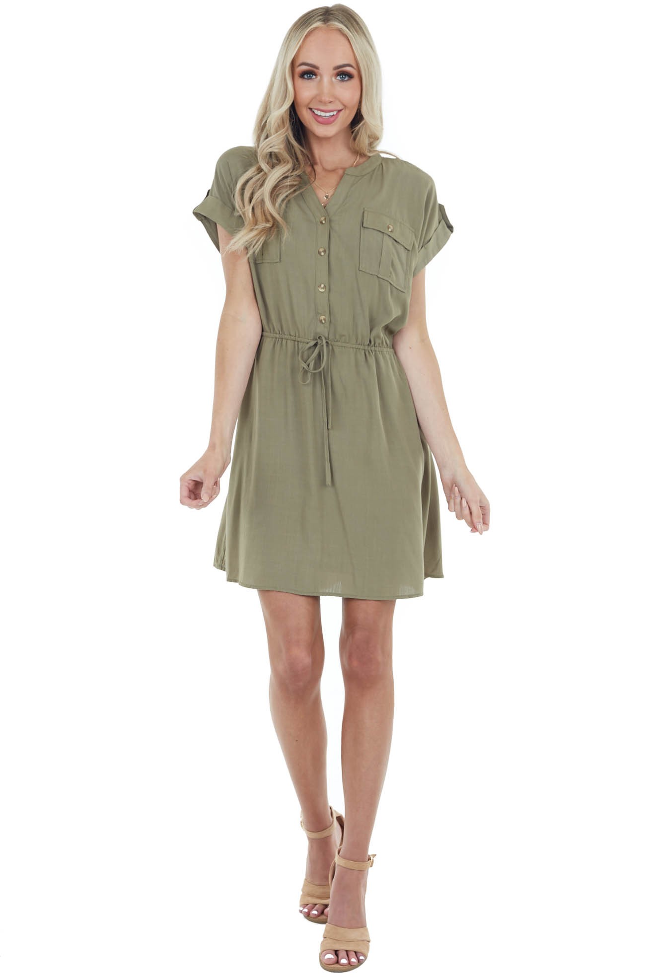Olive Short Sleeve Button Down Dress with Chest Pockets