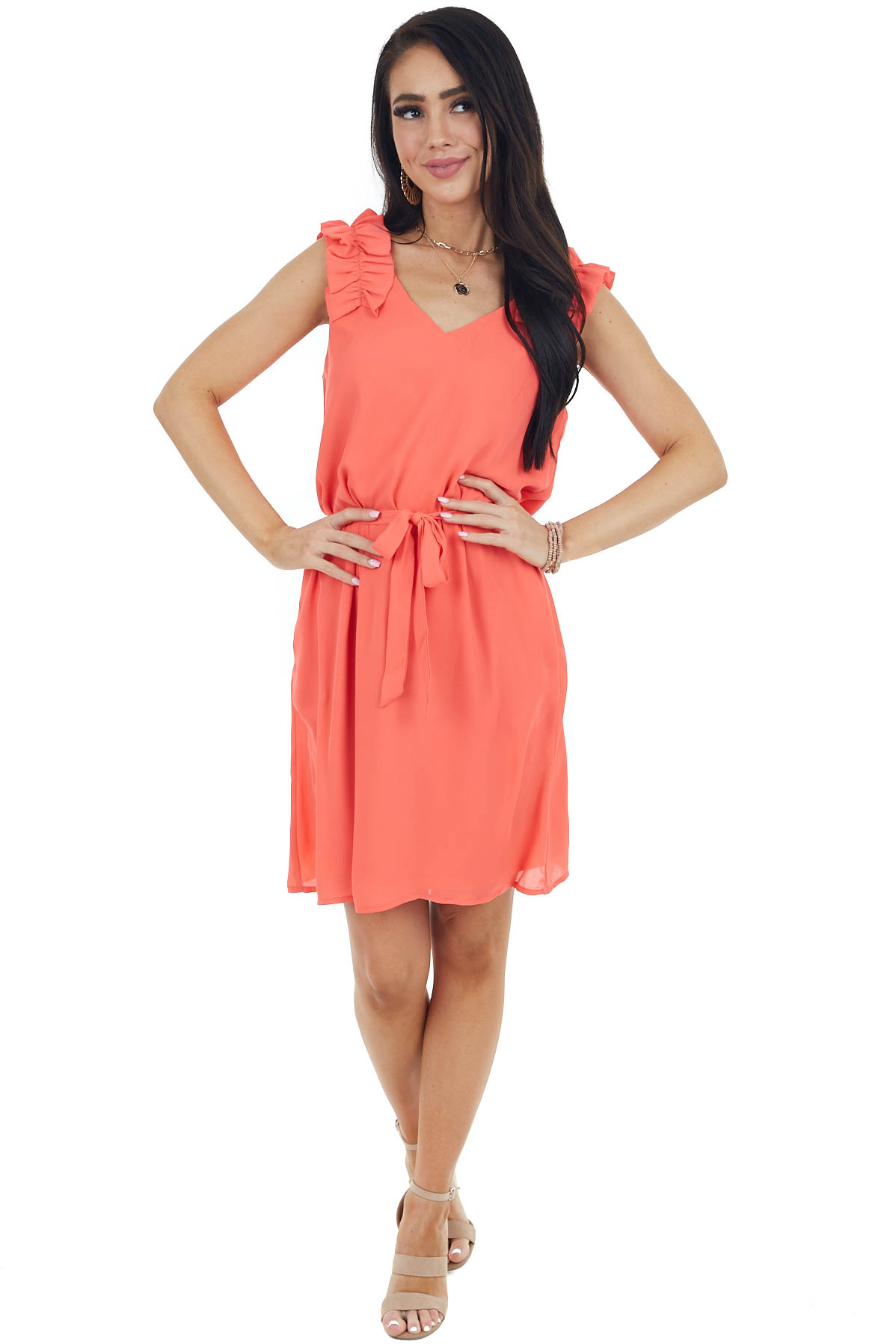 Neon Coral Woven Short Dress with Ruffle Straps and Tie