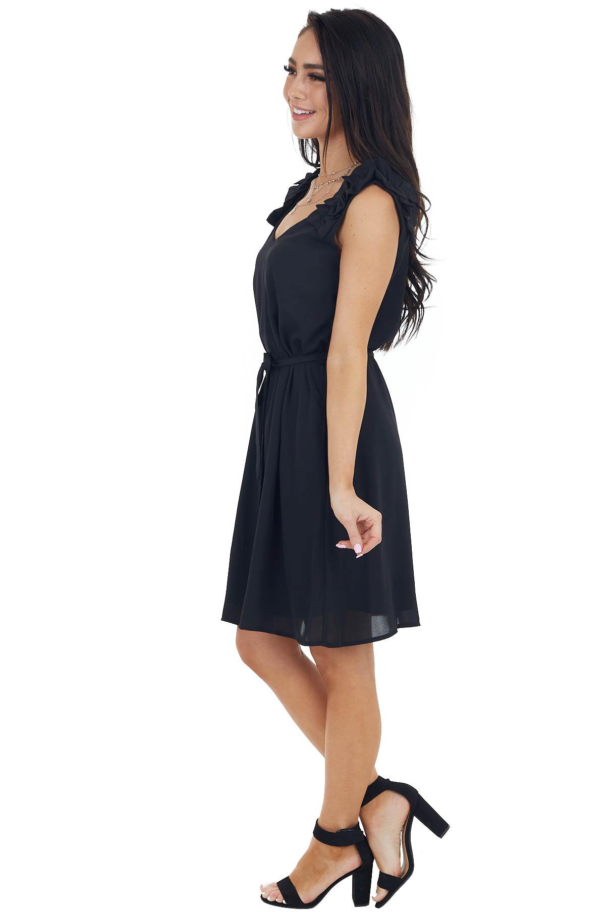 Black Woven Short Dress with Ruffle Straps and Tie
