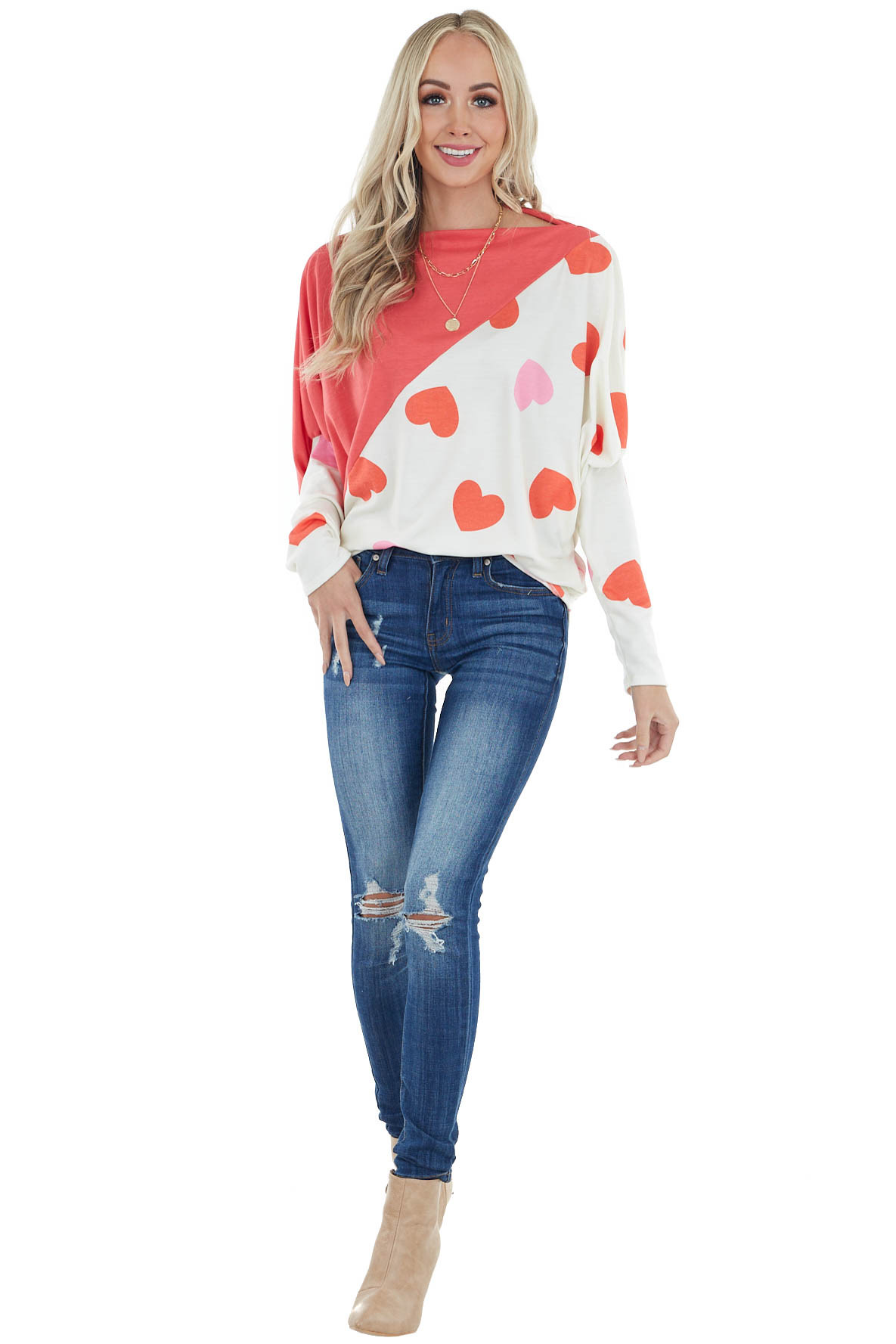 Deep Coral Long Sleeve Colorblock Top with Heart Detail