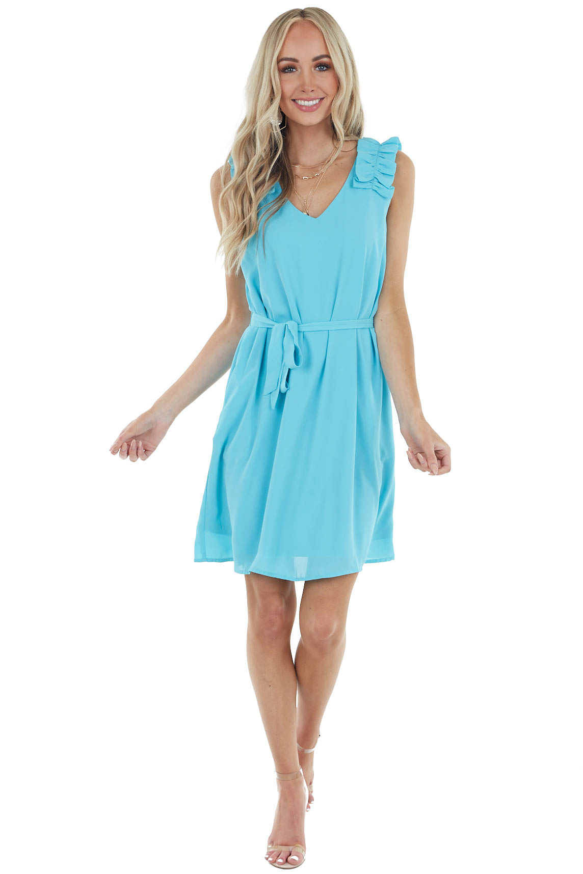 Turquoise Woven Short Dress with Ruffle Straps and Tie