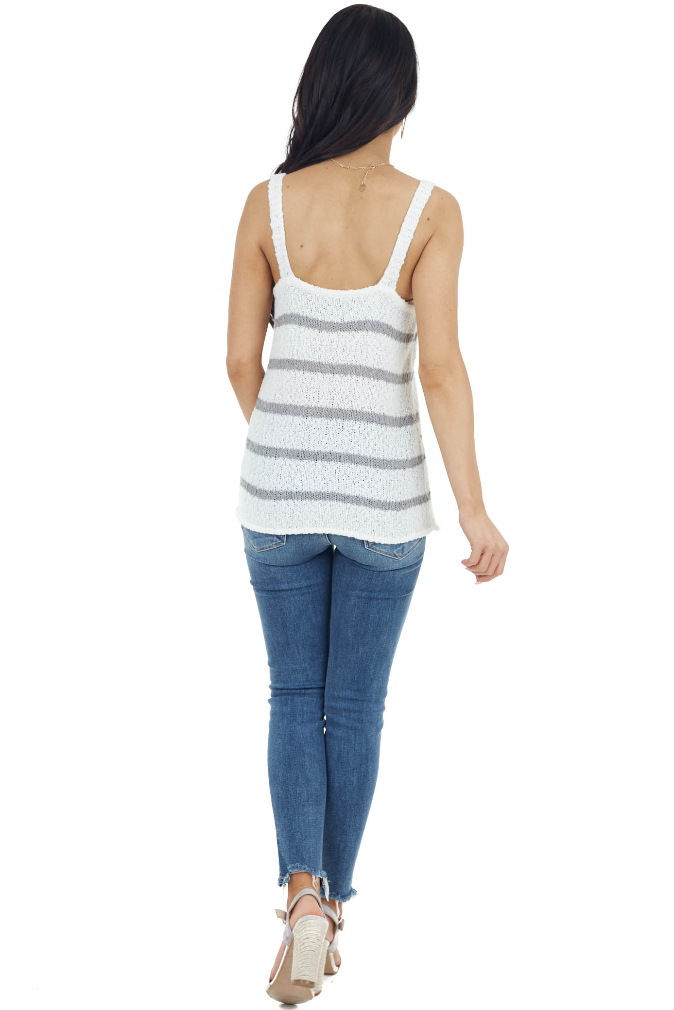 Ivory and Stone Striped Sleeveless V Neck Sweater Top