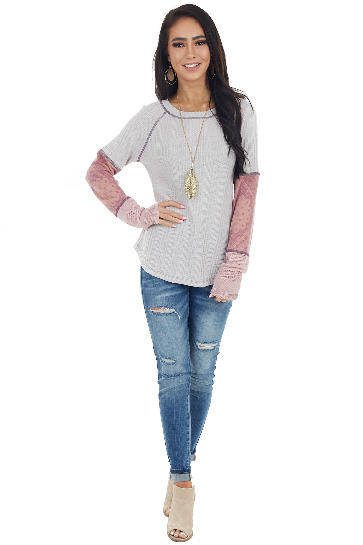Light Grey Waffle Knit Top with Long Paisley Print Sleeves