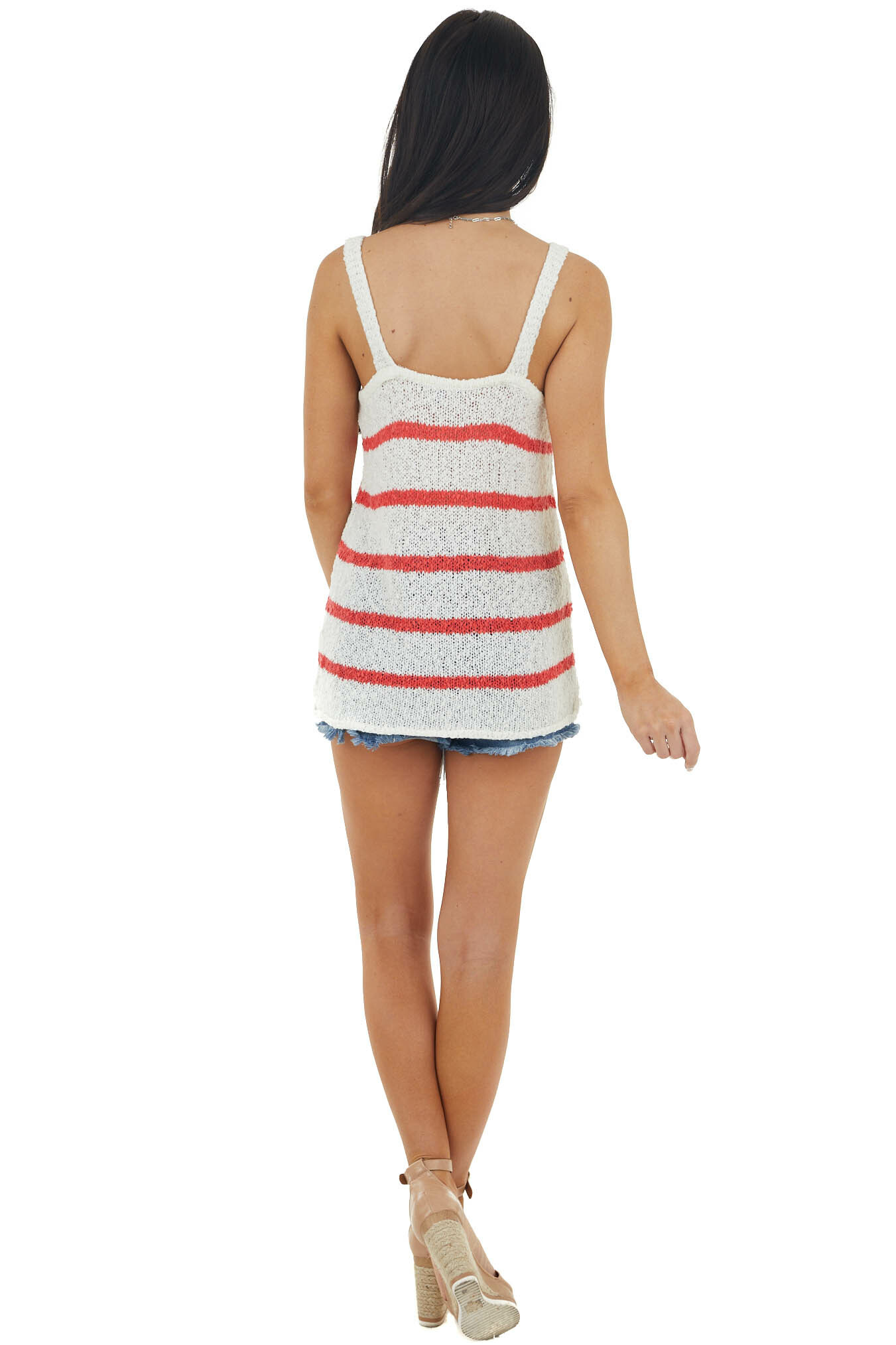 Ivory and Coral Striped Sleeveless V Neck Sweater Top