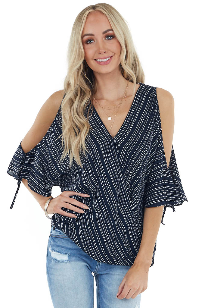 Navy and Ivory Striped Surplice Top with Short Sleeves