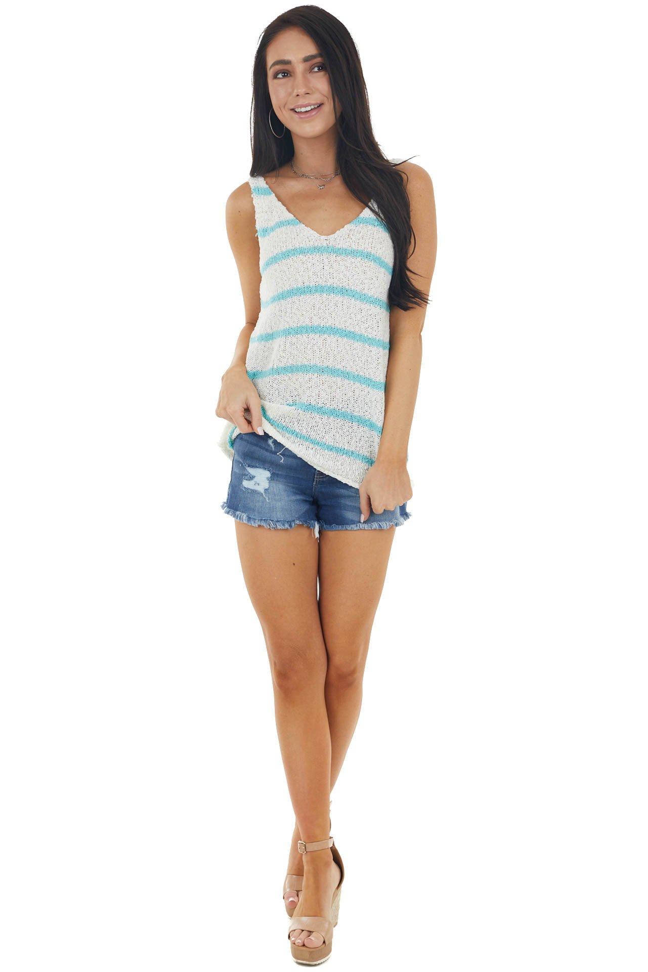 Ivory and Turquoise Striped Sleeveless V Neck Sweater Top