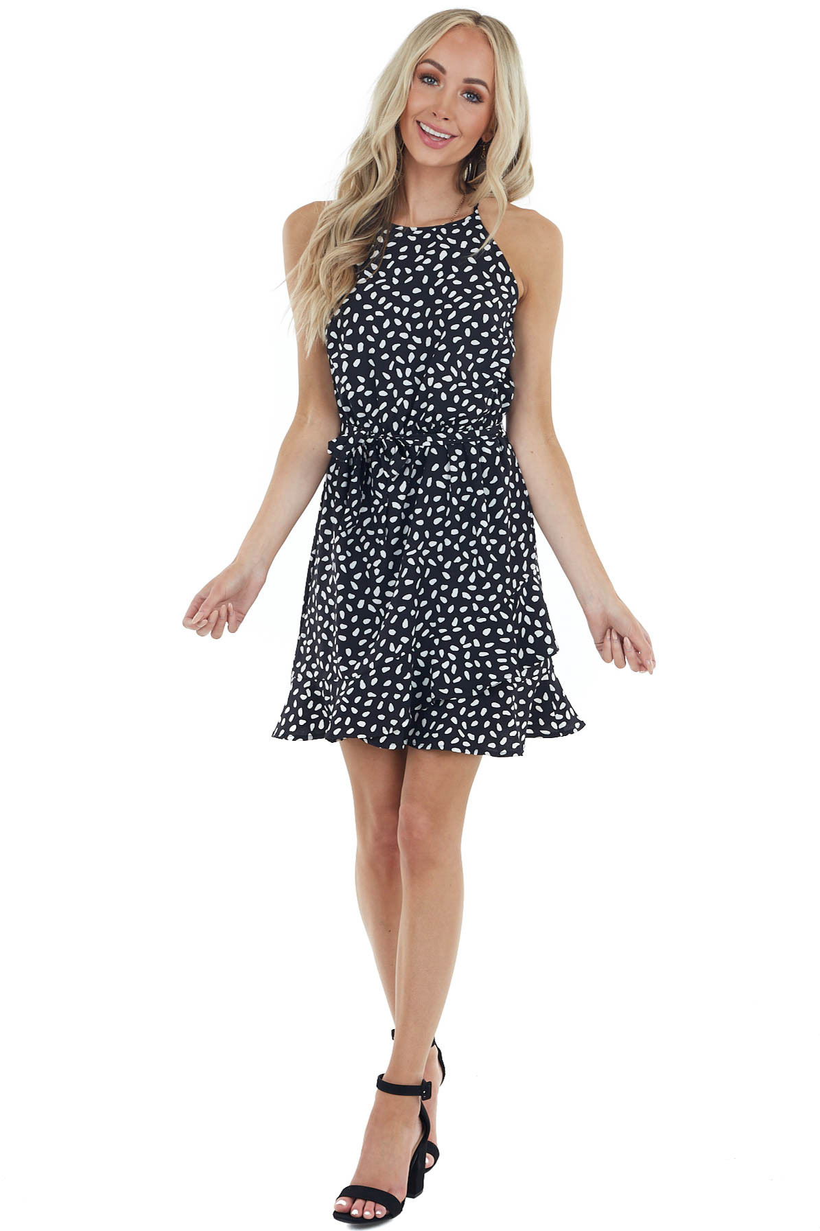 Black and White Spotted Sleeveless Dress with Waist Tie