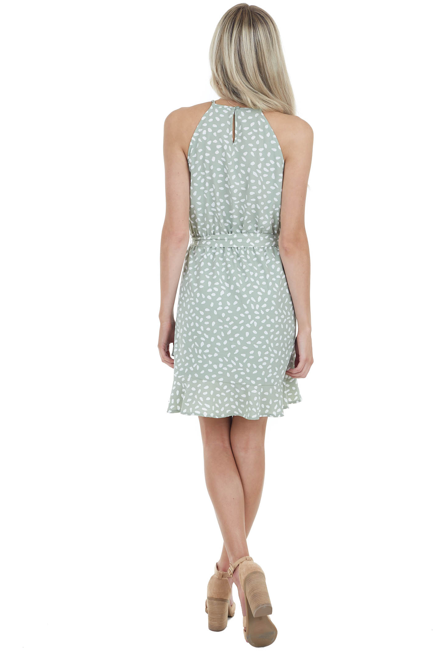 Sage and White Spotted Sleeveless Dress with Waist Tie