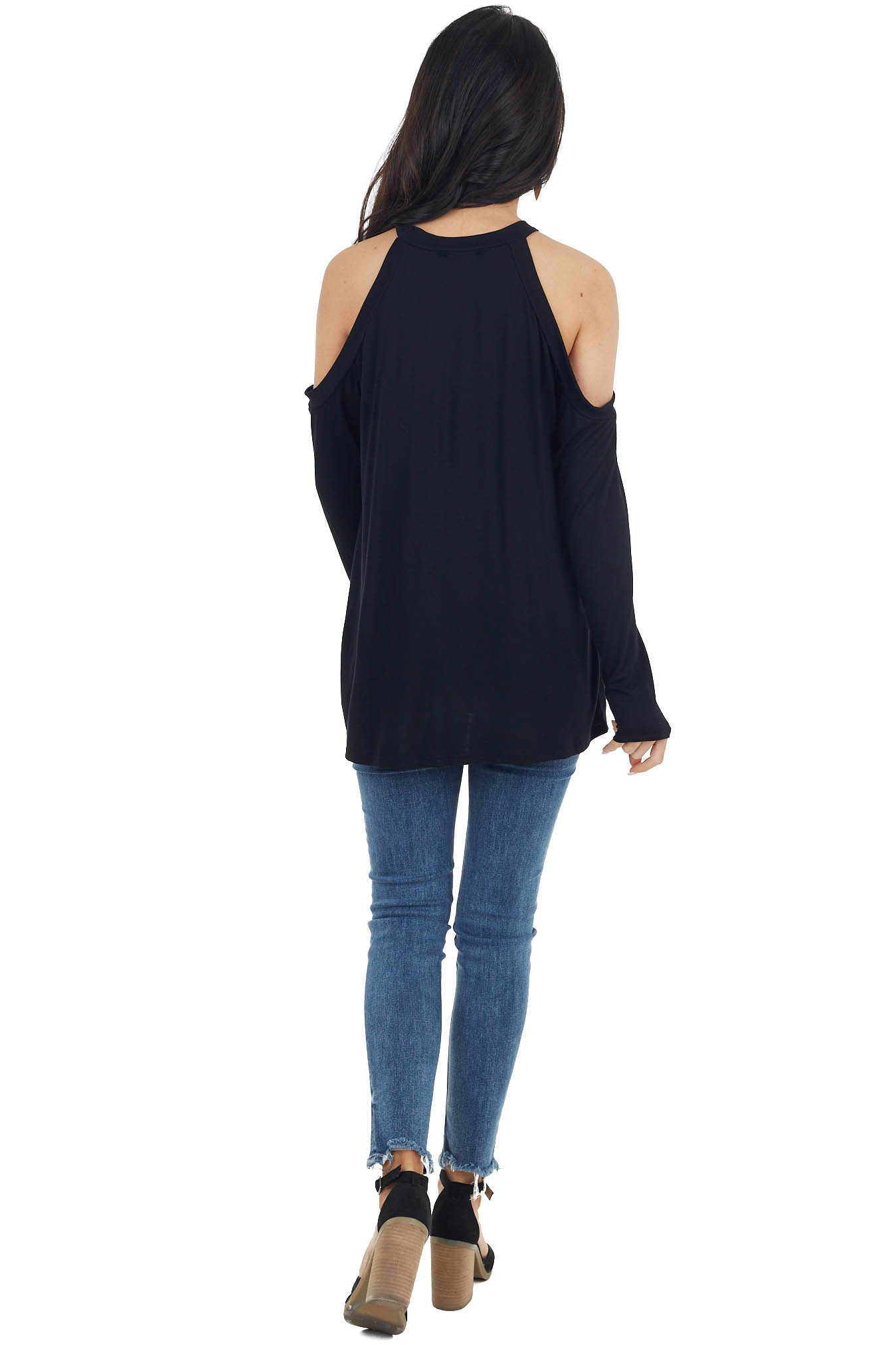Black Long Sleeve Cold Shoulder Top with Twisted Detail